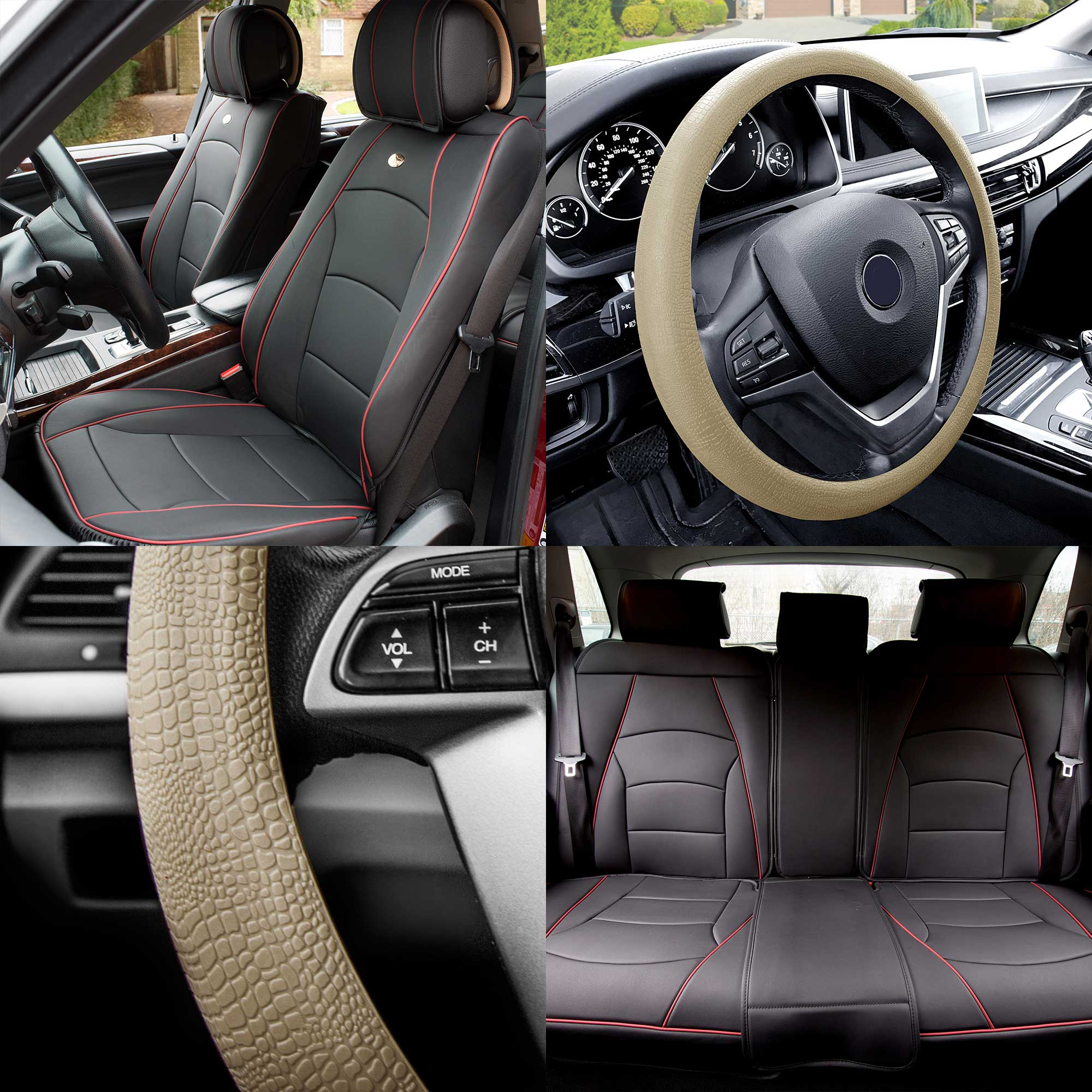Car Seat Cover PU Leather 5 Seats Full Set Black Red W Beige
