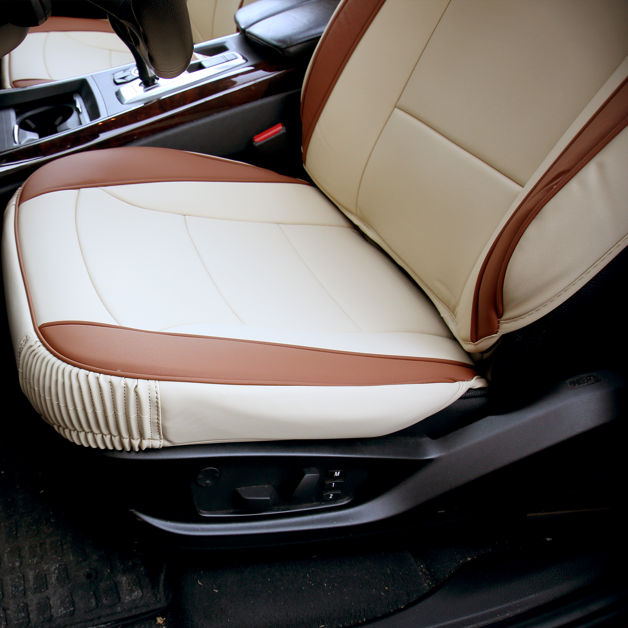 Luxury-Leather-Seat-Cushion-Covers-Front-Bucket-Pair-11-Color-Options thumbnail 5