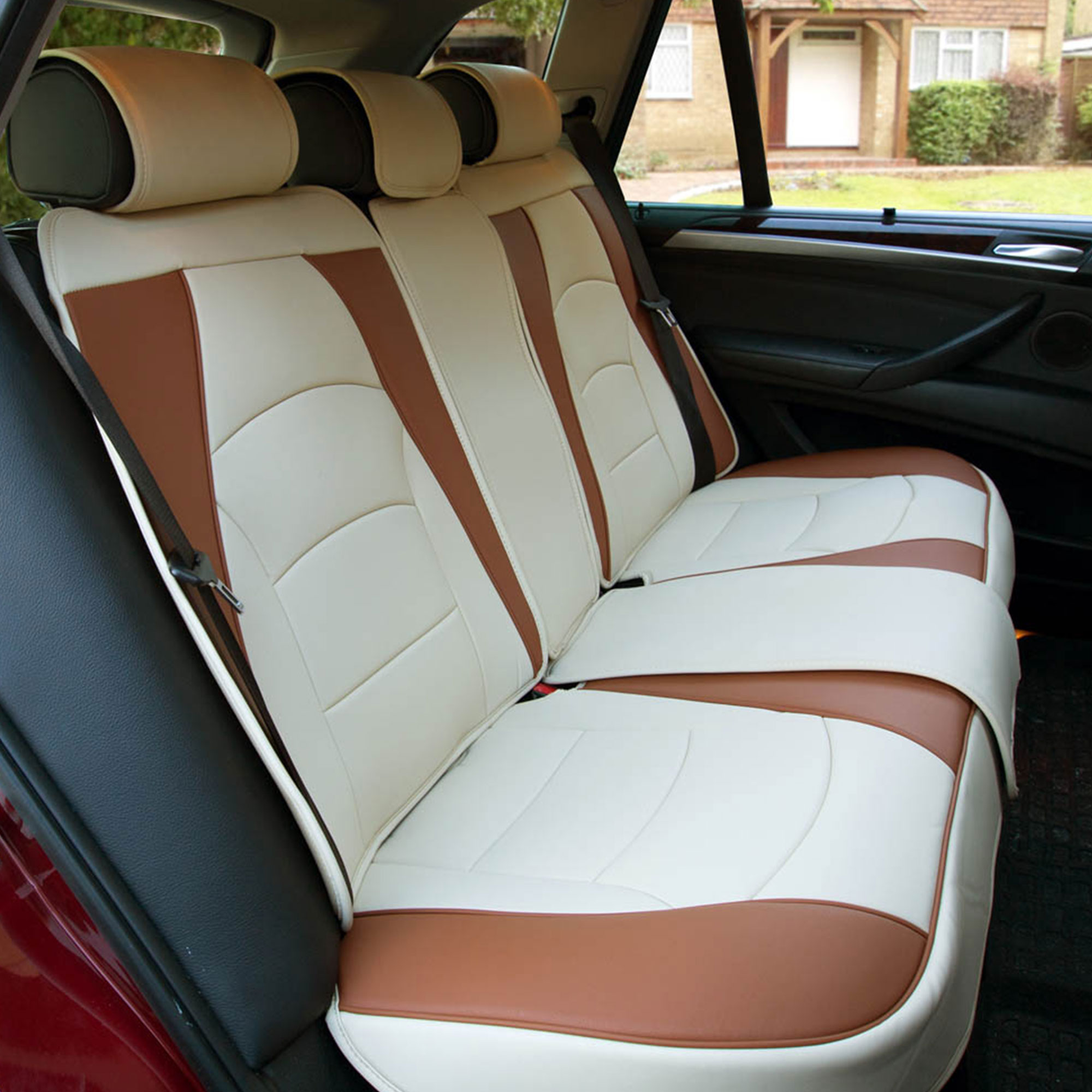 Car Suv Truck Leatherette Seat Cushion Covers Rear Bench Seats Beige Ebay