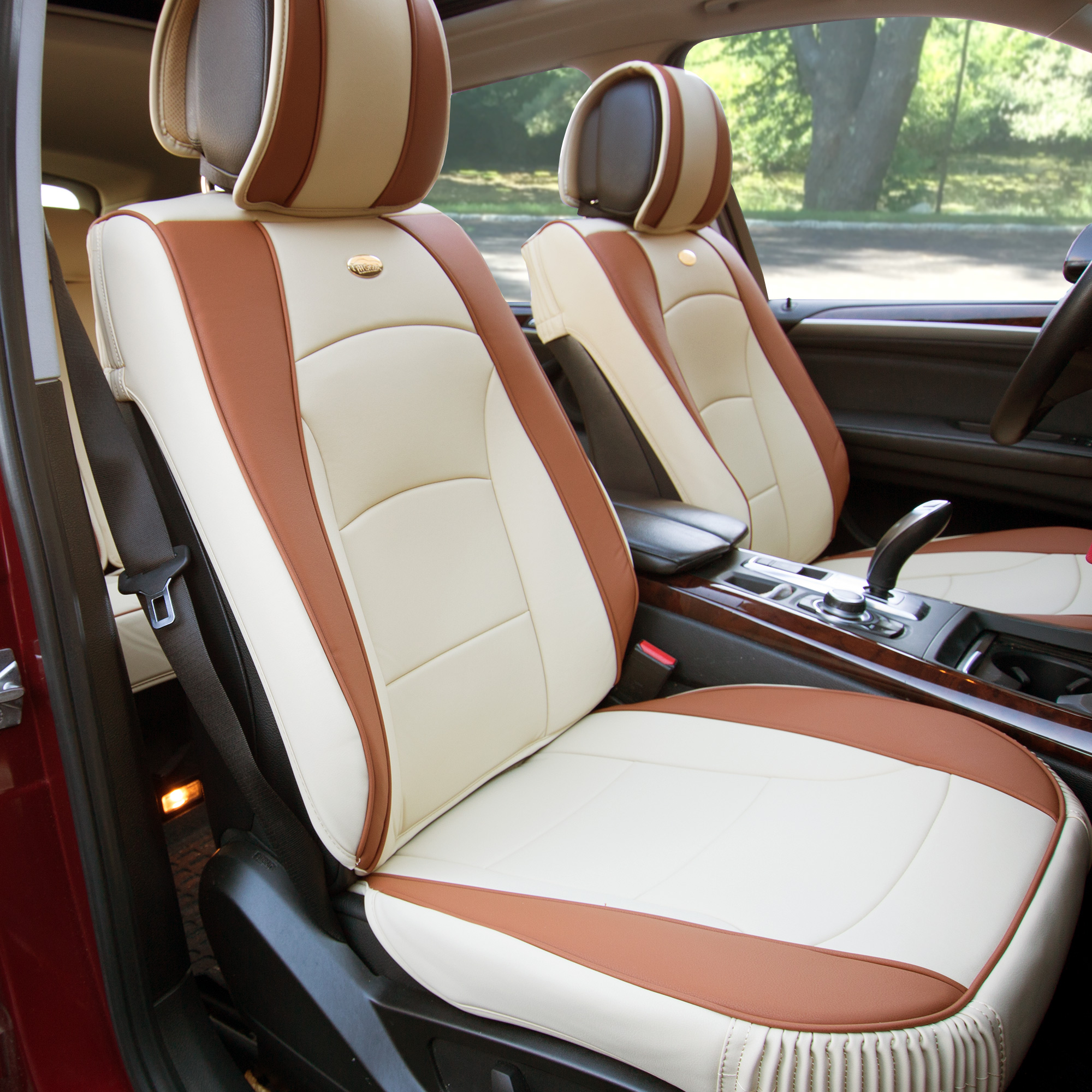 car suv truck pu leather seat cushion covers front bucket seats beige ebay. Black Bedroom Furniture Sets. Home Design Ideas