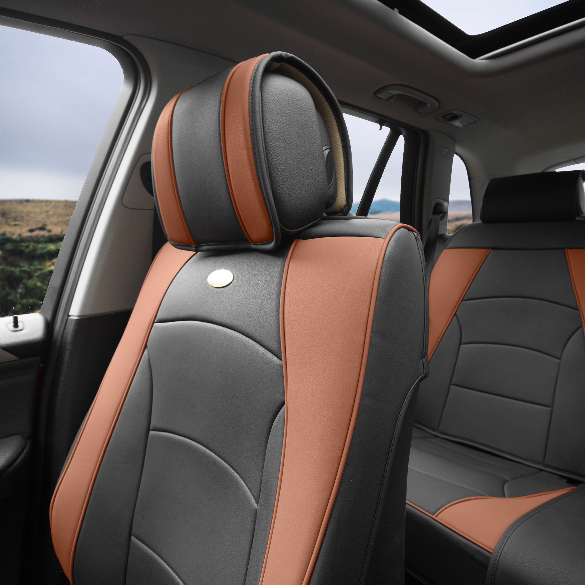 Luxury-Leather-Seat-Cushion-Covers-Front-Bucket-Pair-11-Color-Options thumbnail 25