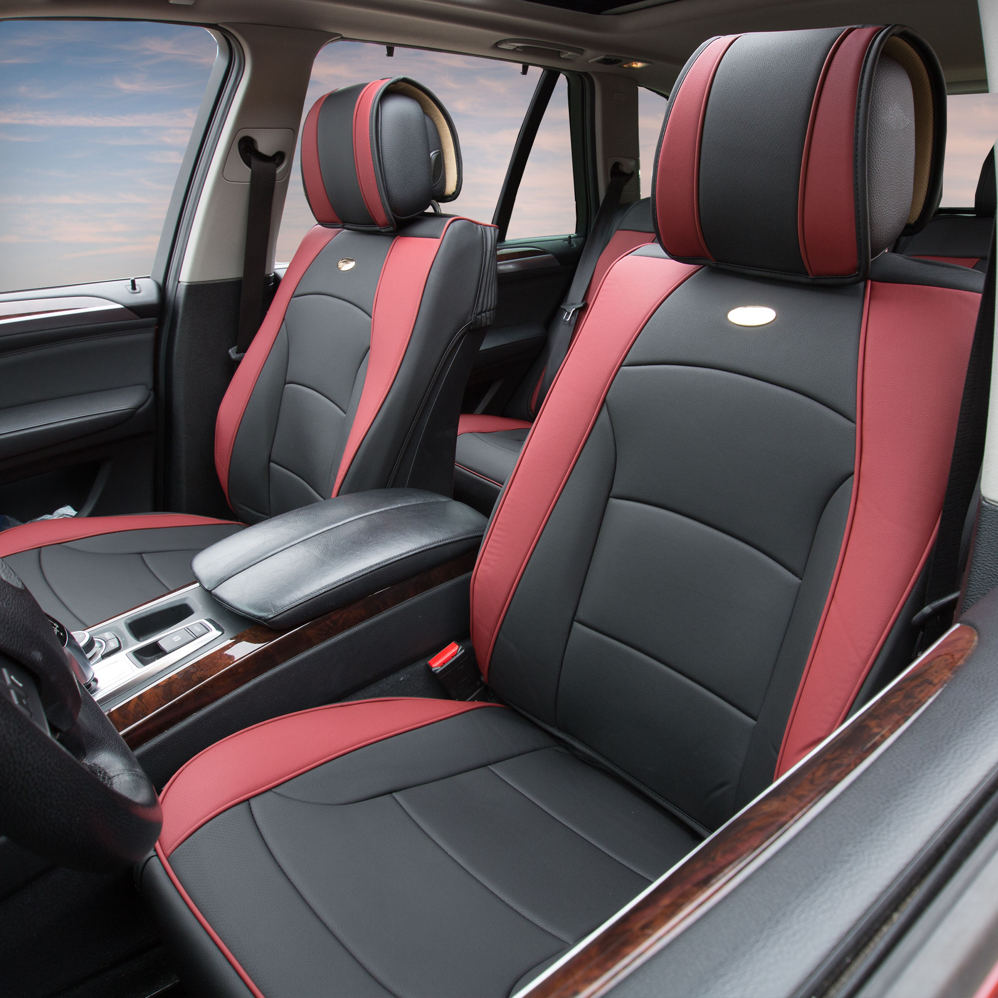 Luxury-Leather-Seat-Cushion-Covers-Front-Bucket-Pair-11-Color-Options thumbnail 30