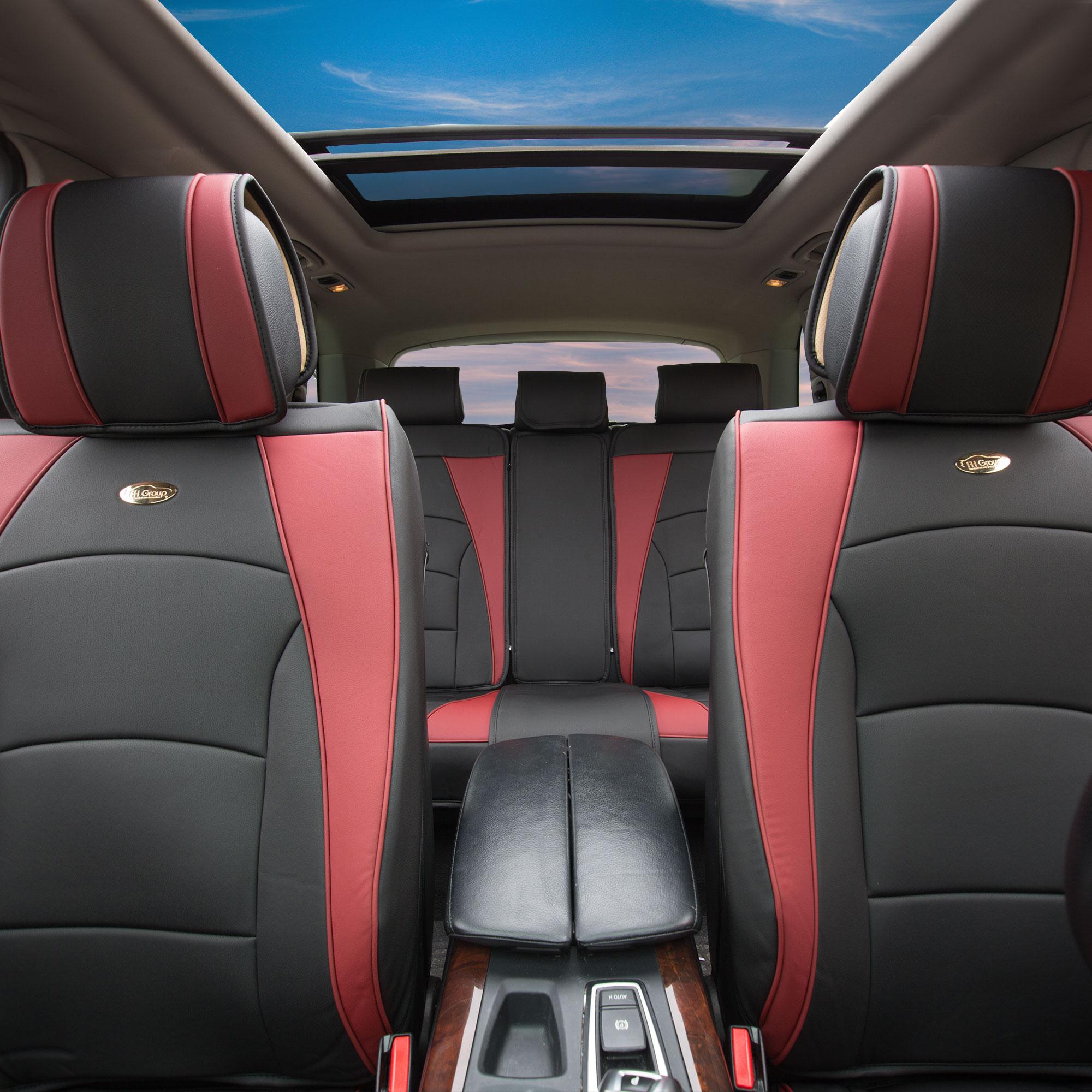 Car Suv Truck Pu Leather Seat Cushion Covers 5 Seat Full Set Seats Burgundy Ebay