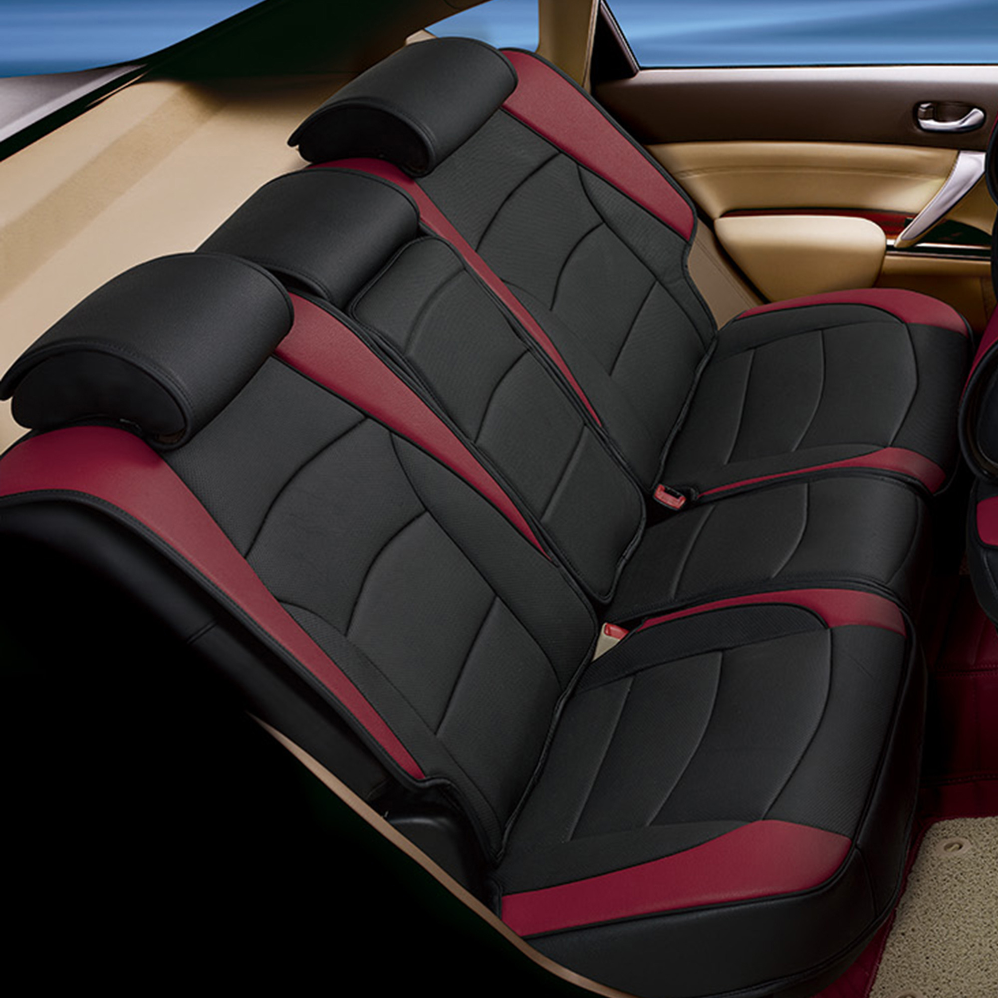 Car SUV Truck PU Leather Seat Cushion Covers Rear Bench