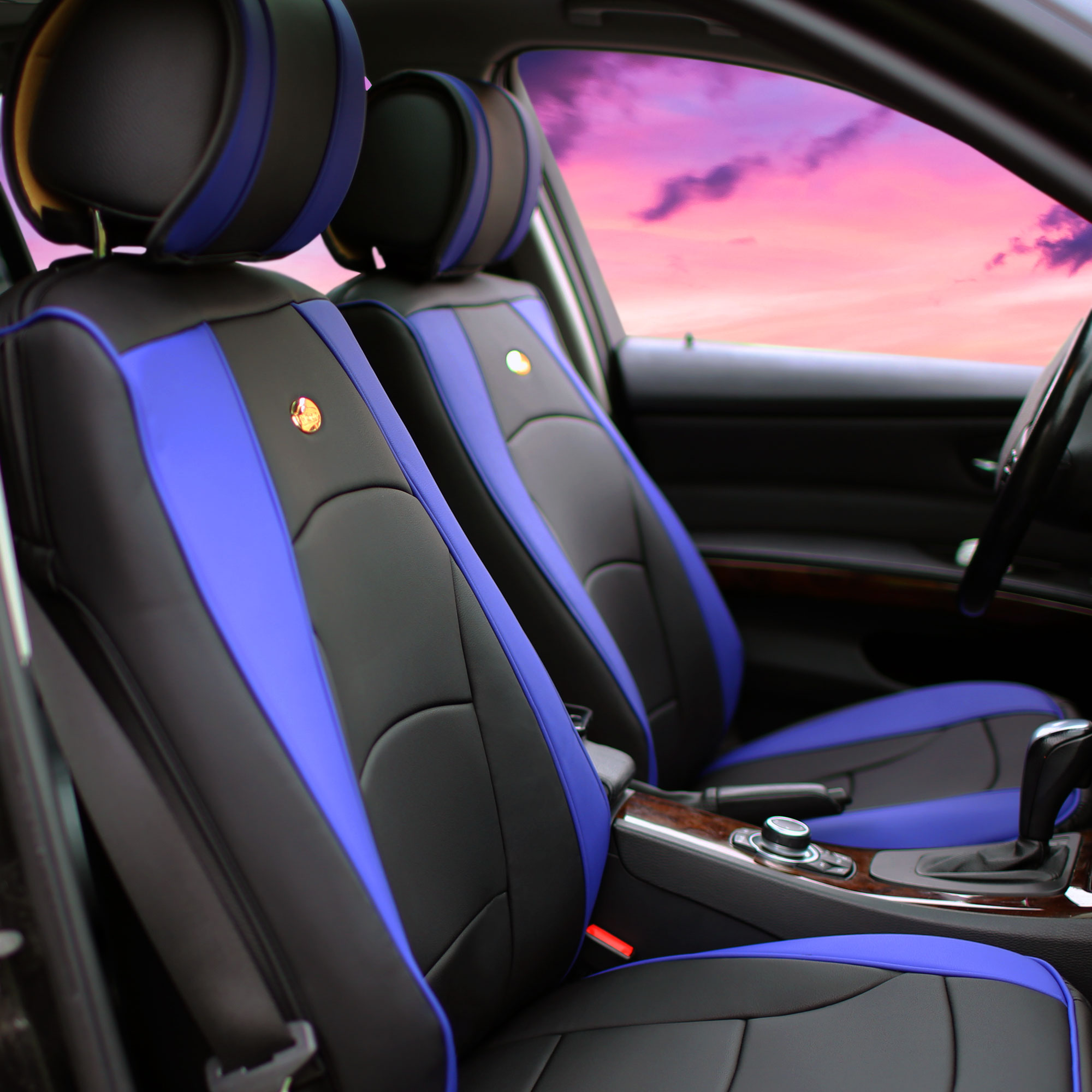 Luxury-Leather-Seat-Cushion-Covers-Front-Bucket-Pair-11-Color-Options thumbnail 20