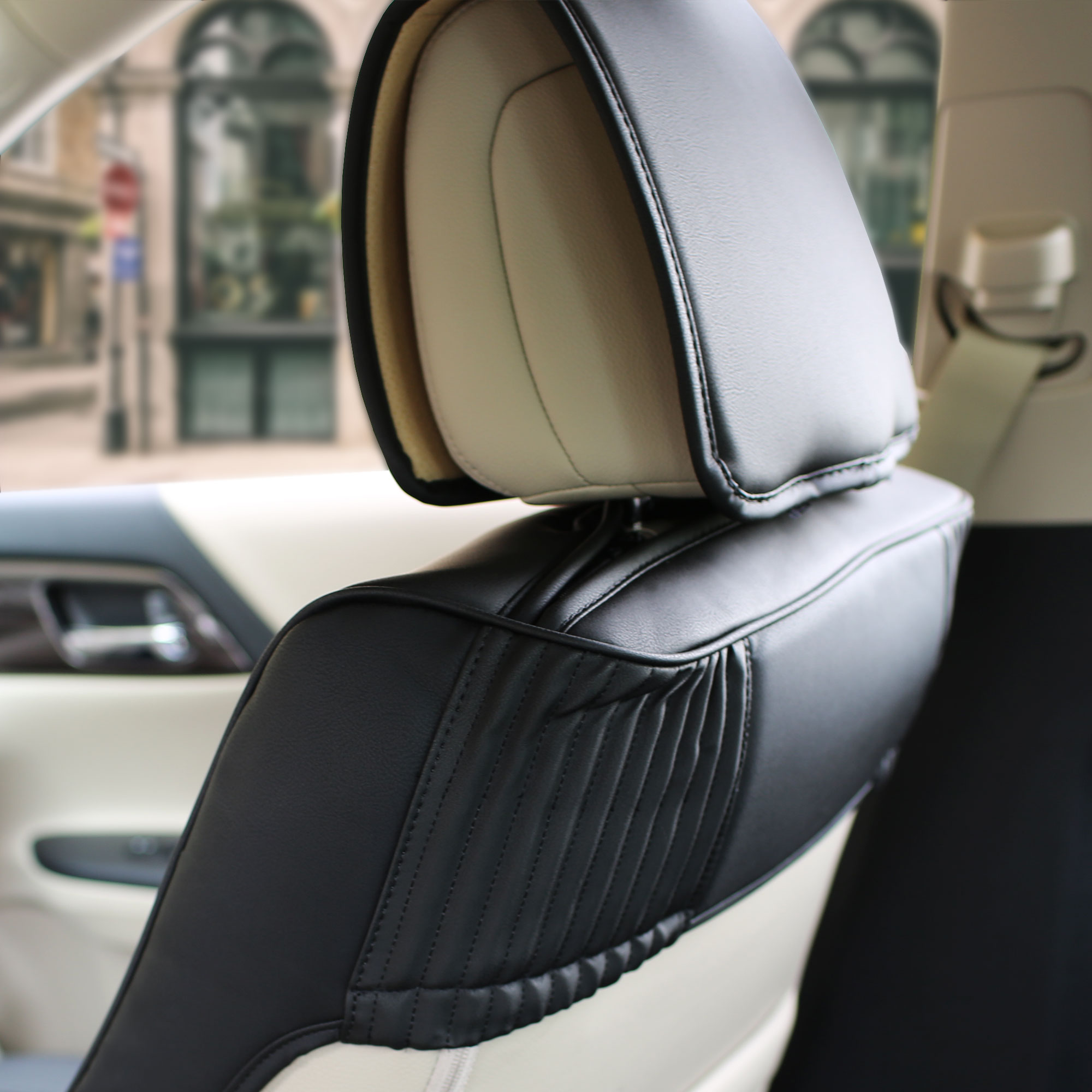 Luxury-Leather-Seat-Cushion-Covers-Front-Bucket-Pair-11-Color-Options thumbnail 8
