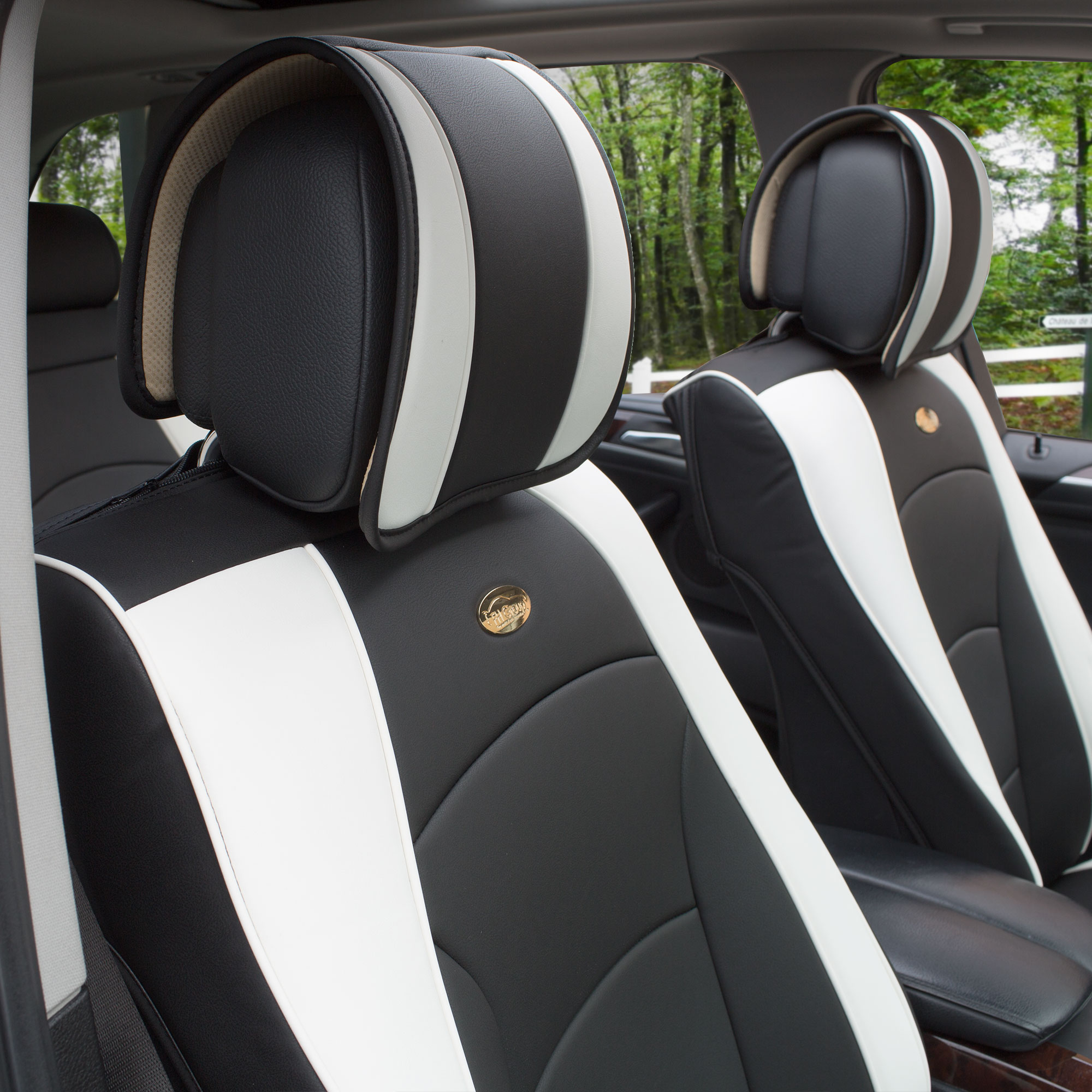 Luxury-Leather-Seat-Cushion-Covers-Front-Bucket-Pair-11-Color-Options thumbnail 39