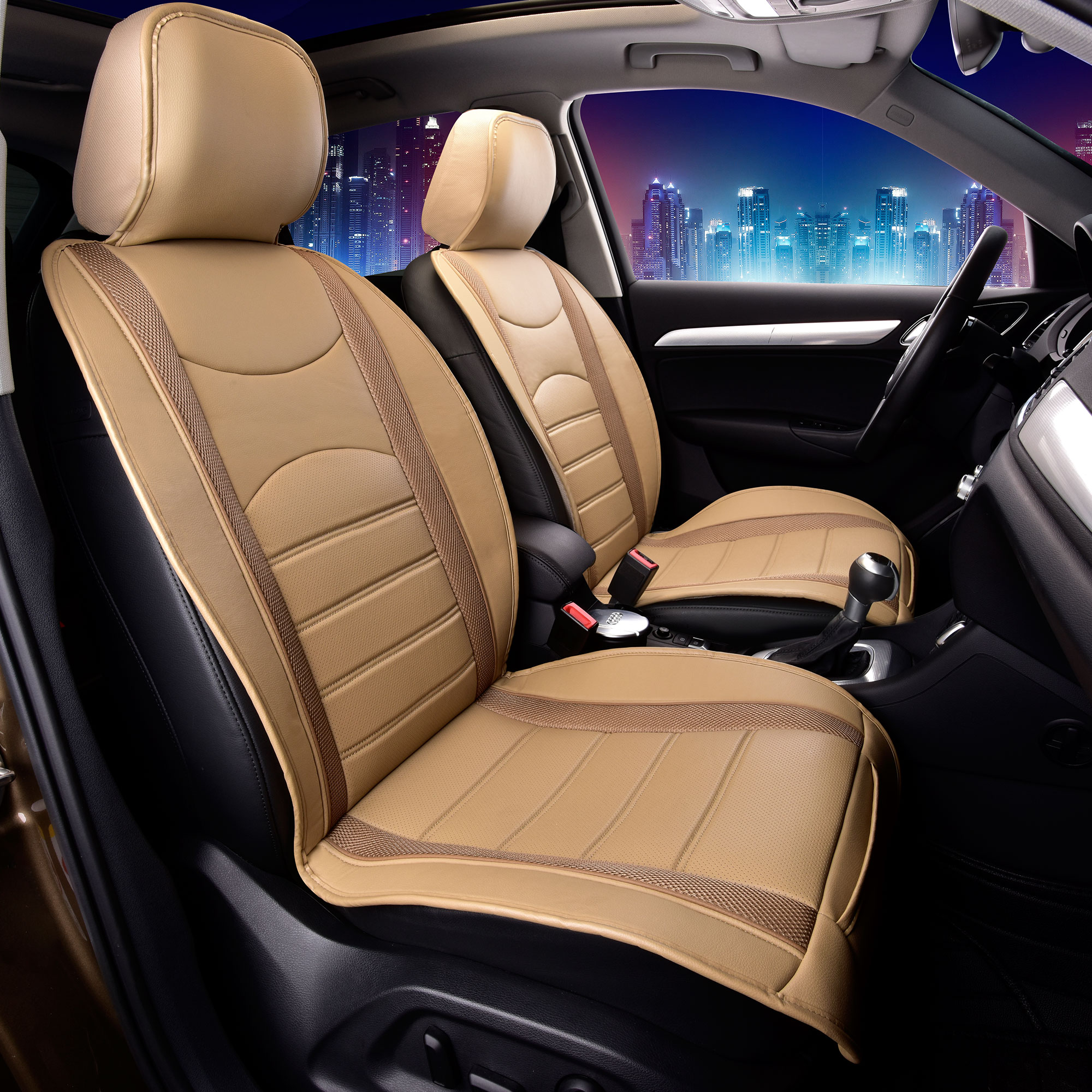 neoblen leatheretter front seat cushions for auto car suv truck beige ebay. Black Bedroom Furniture Sets. Home Design Ideas