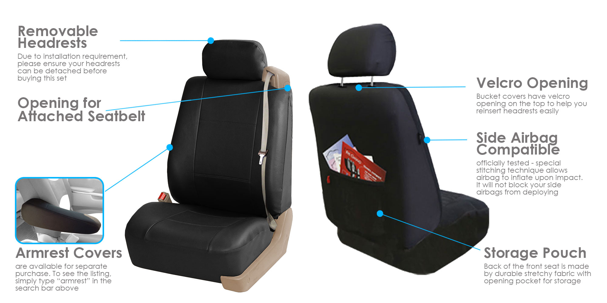 Car Truck SUV Seat Covers Front For Built In Seat Belt