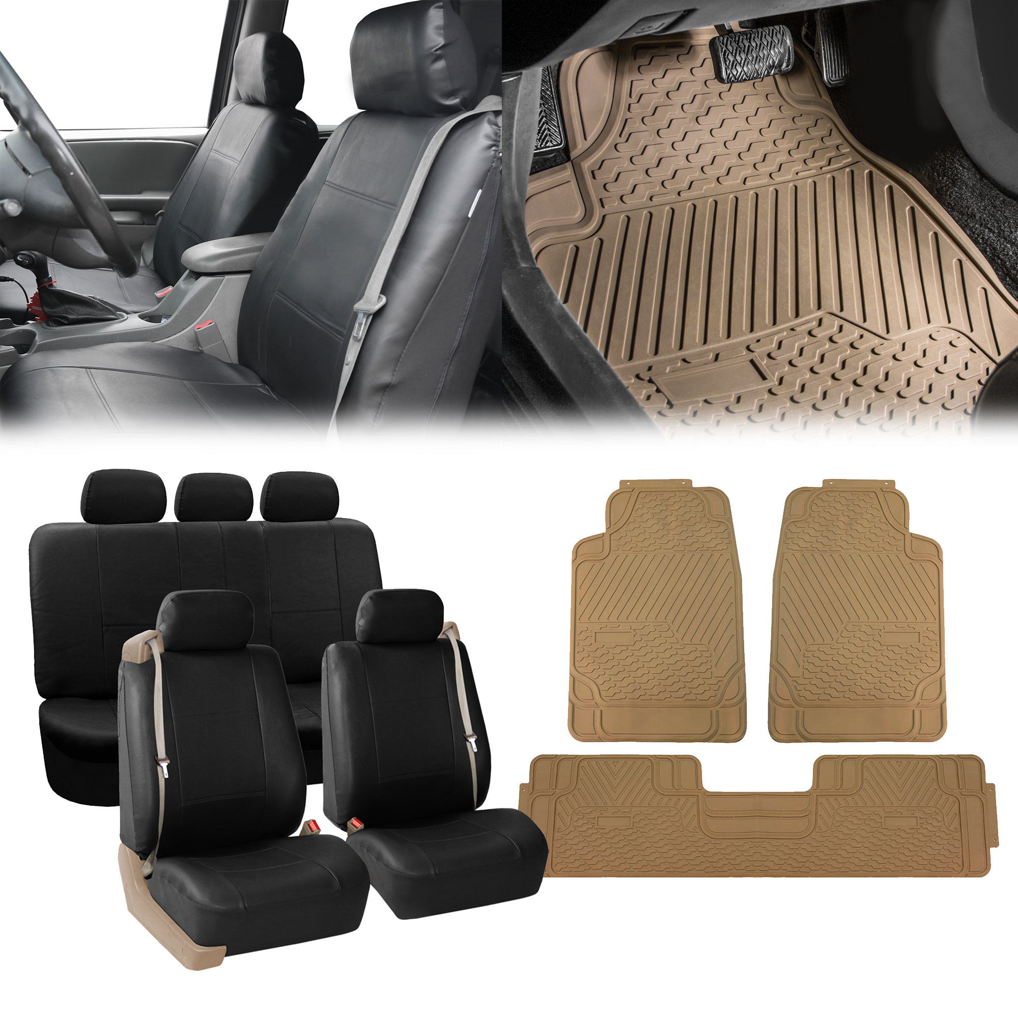 Premium PU Leather With A Protective Coating That Is Soft To The Touch Water Resistant And Durable Package Includes Complete Car Seat Covers Set