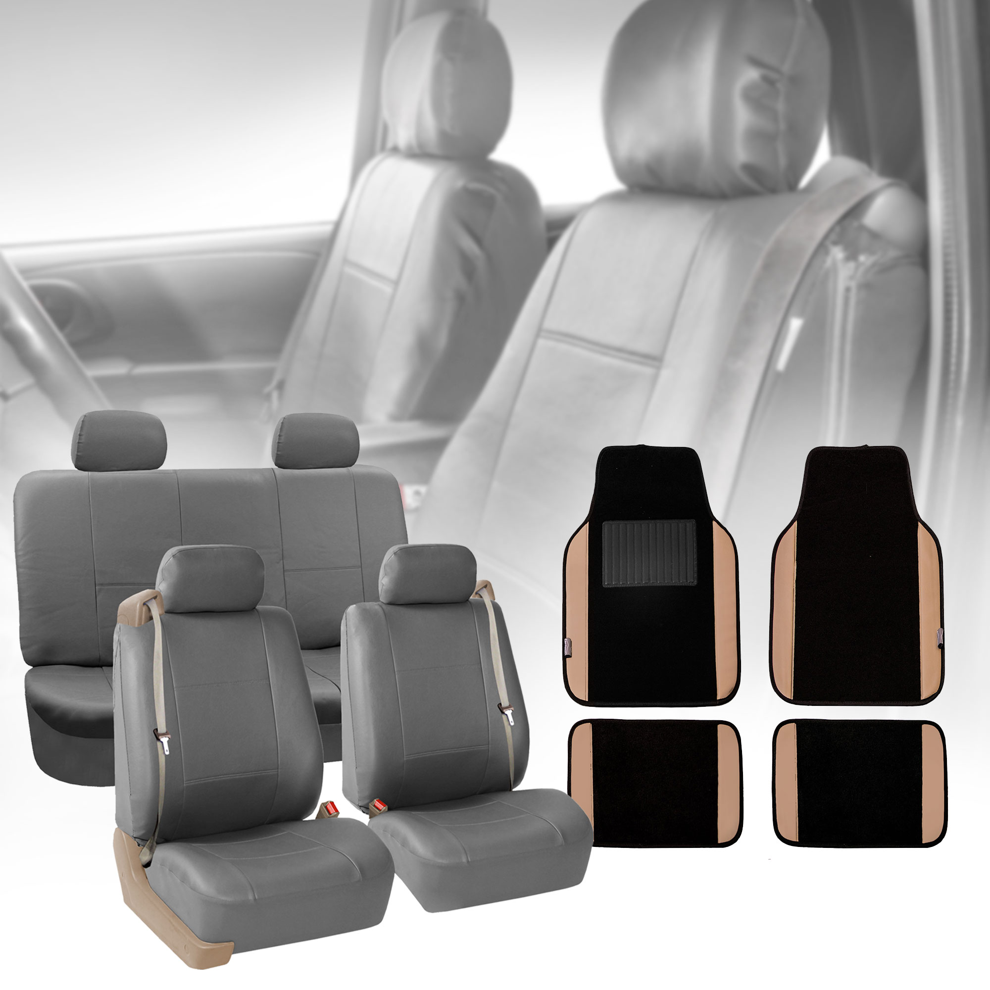 BEIGE LEATHER LOOK CAR SEAT COVERS FULL SET For BMW E30 Convertible