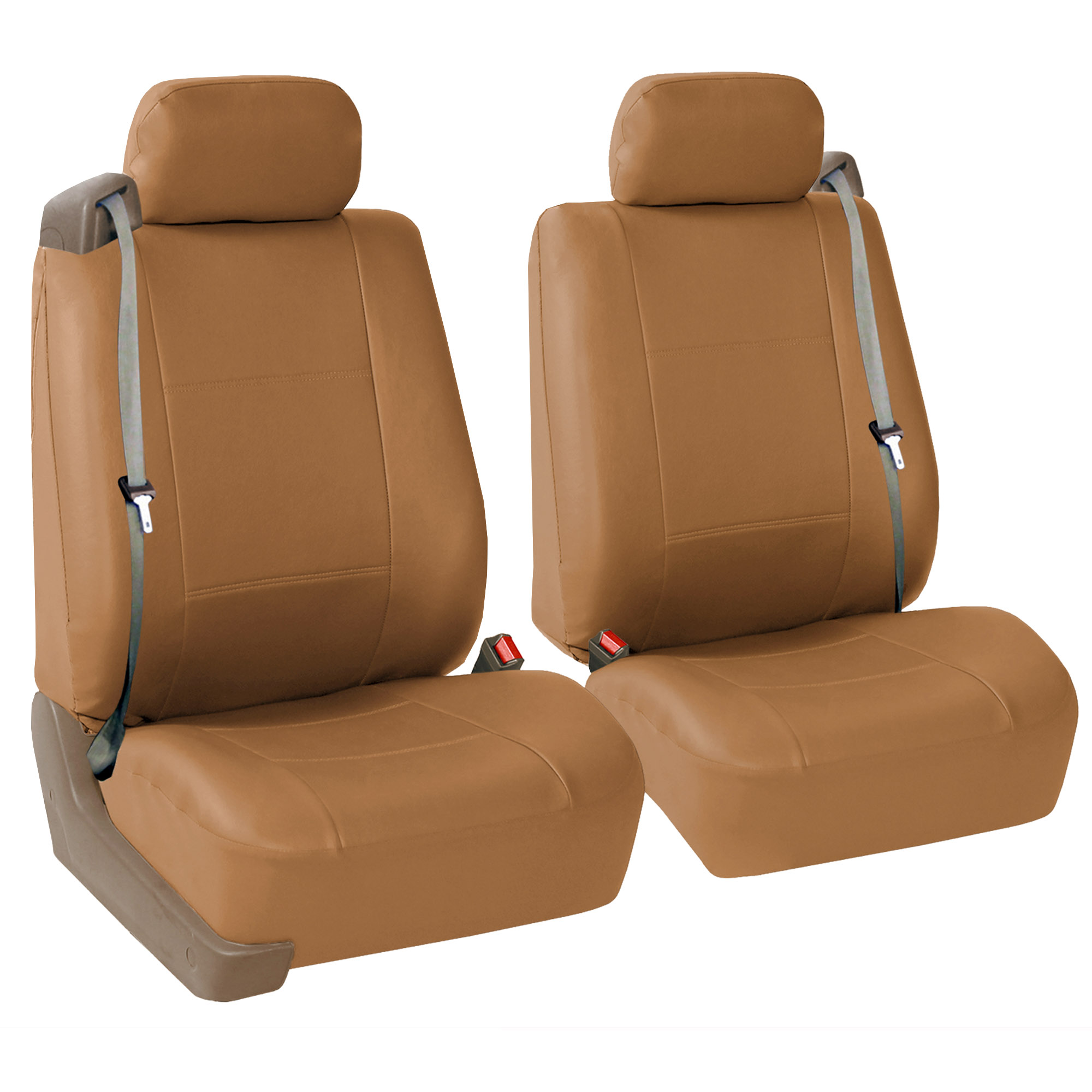 PU Leather Integrated Seat Belt Seat Covers Gray Floor