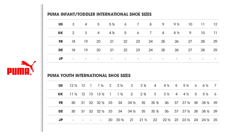 Pumas Womens Shoes Sizing Chart