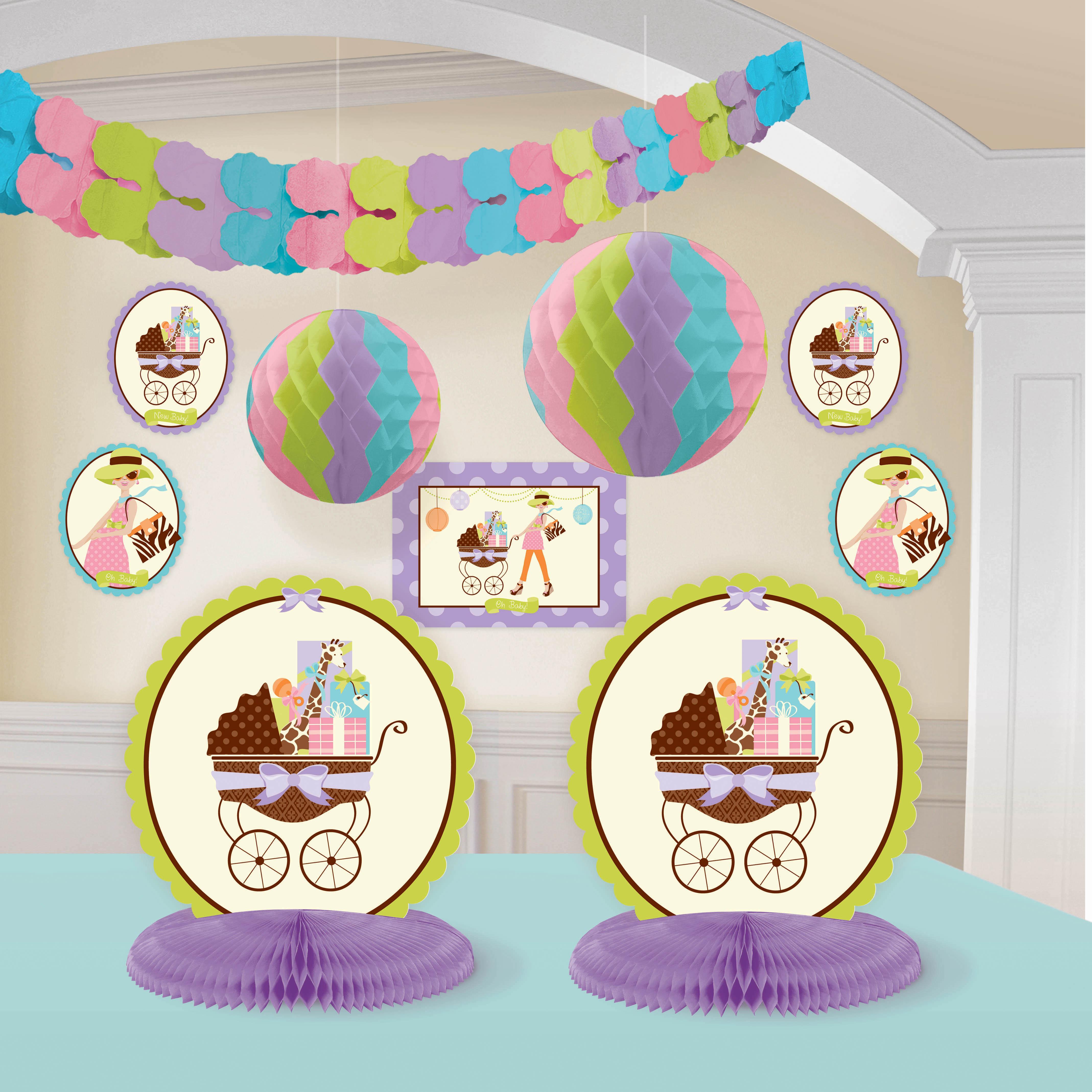 Leopard Print Baby Shower Supplies: Modern Mommy Room Decorating Kit Baby Shower Giraffe