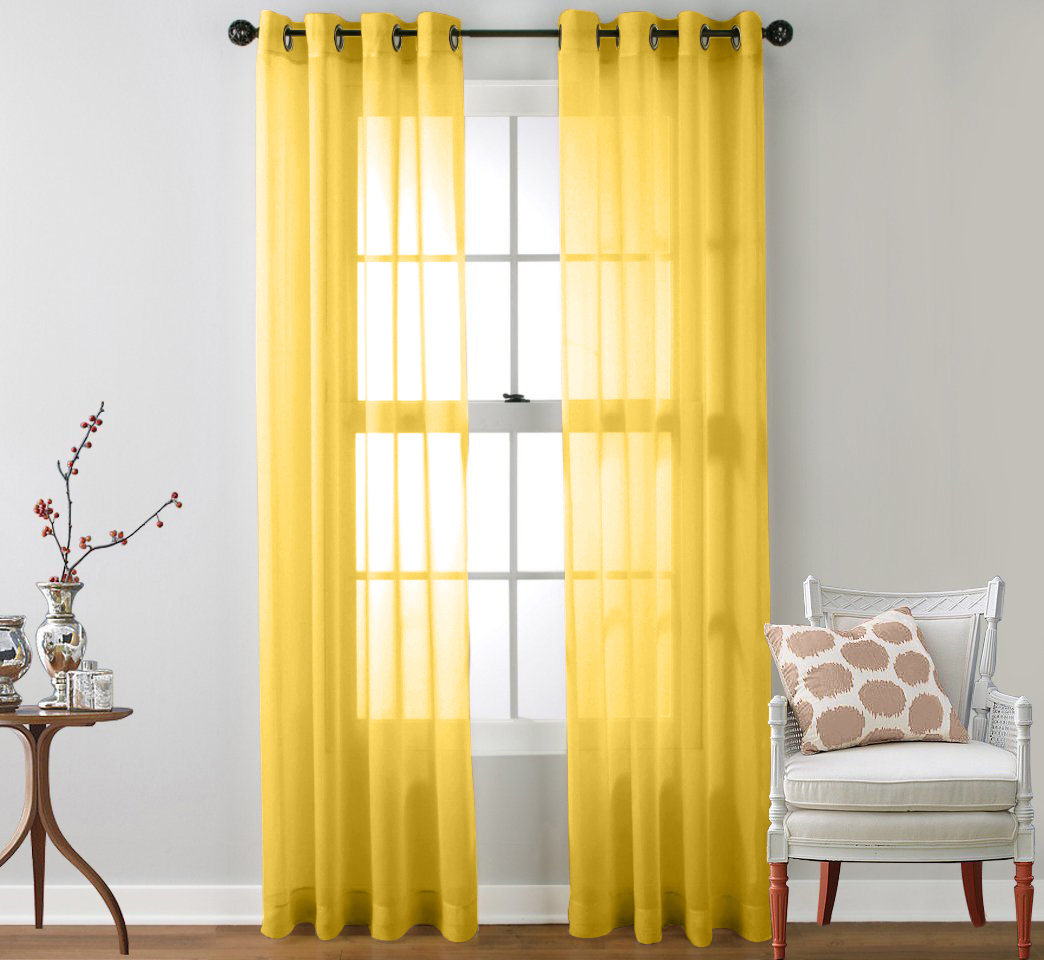 yellow bedroom curtains 2 sheer window curtain grommet panels ebay 13886