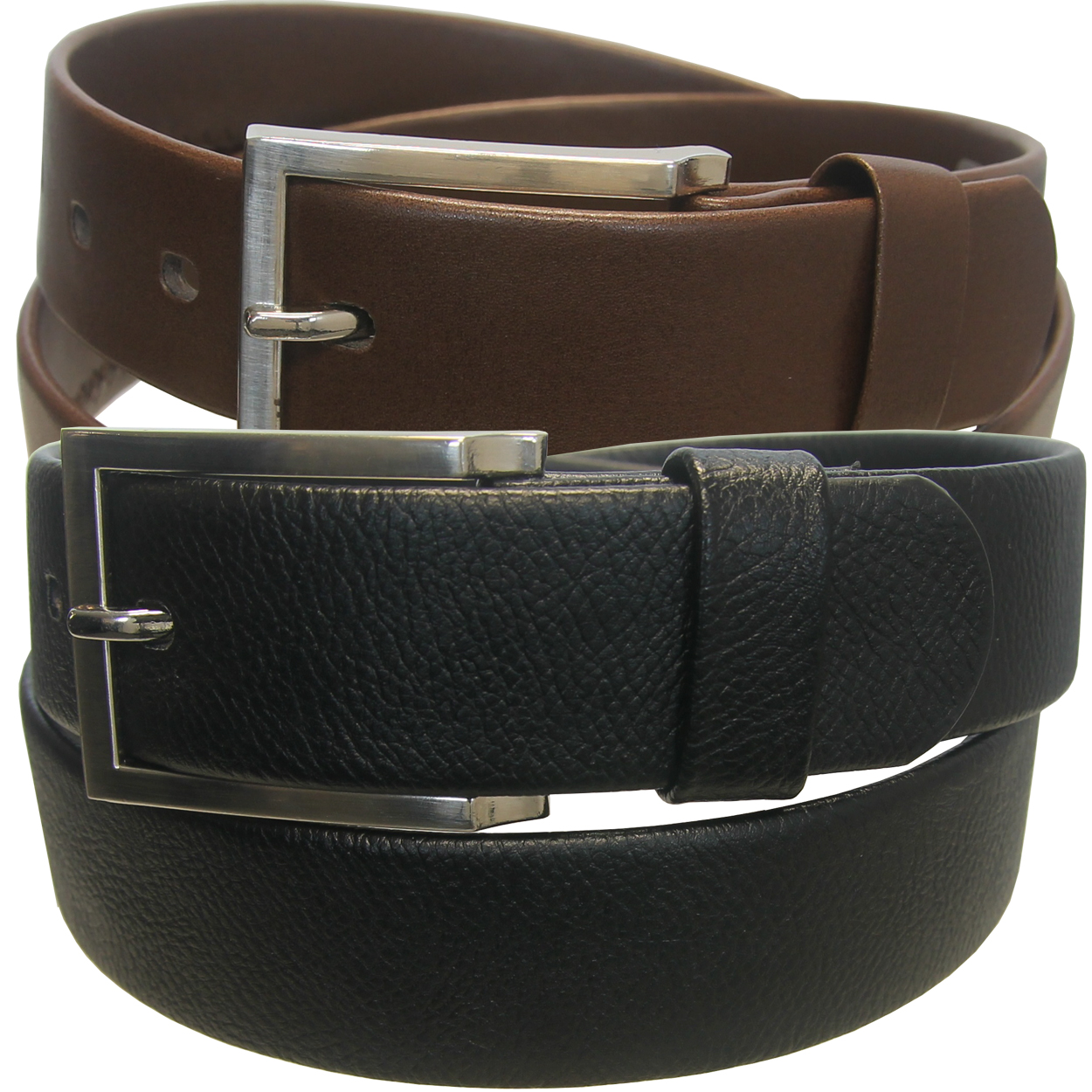 Beverly Hills Polo Club Men'S Square Buckle Belts (2-Pack)