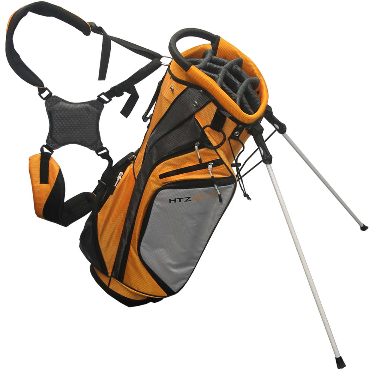 The Hot Z 3.0 HTZ Stand Bag features: Easy release tempered stand mechanism. 14 individual full length club dividers. 6 Zippered pockets including valuables pouch and insulated water bottle sleeve. Easy lift top and bottom handles and padded dual carry strap with extra thick hip pad. Pen sleeve, towel ring, velcro glove attachment, and umbrella holder.