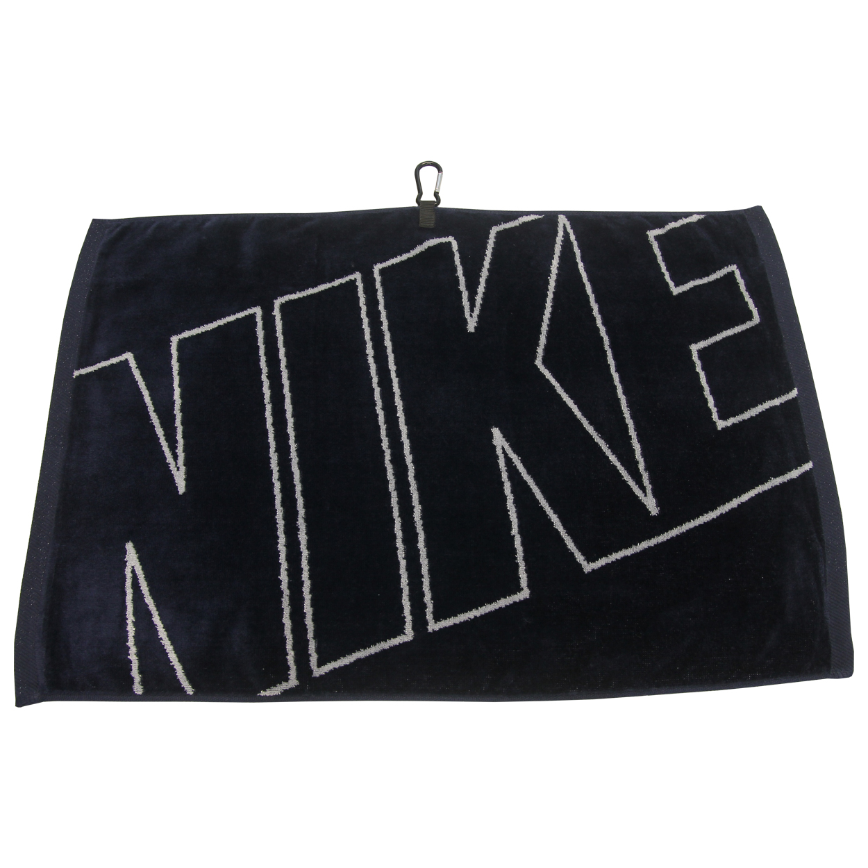 """The Nike Golf 16"""" X 24"""" Jacquard Towel Towel features: Large 16"""" x 24"""" size with carabiner clip. Sheared 100% cotton velour construction. Boasts Nike branding. Wipe down your clubs with style!"""
