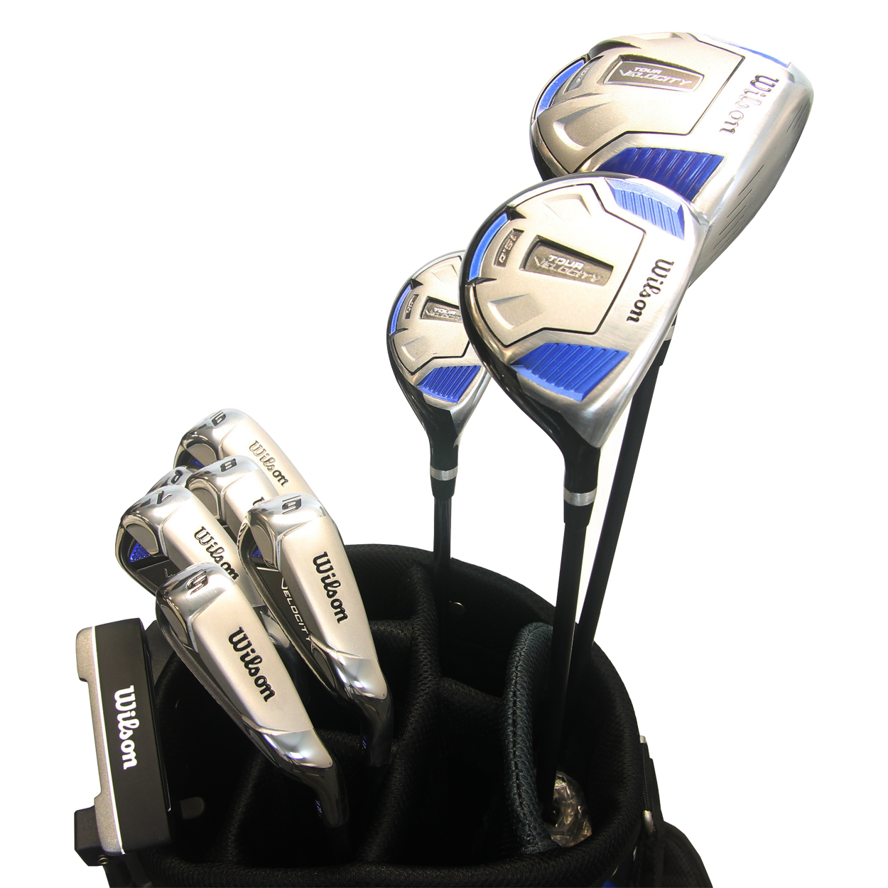 Wilson Tour Velocity Men's 14 Piece Complete Golf Set with Stand Bag WILSON-TOUR-VELOCITY-MEN-SET