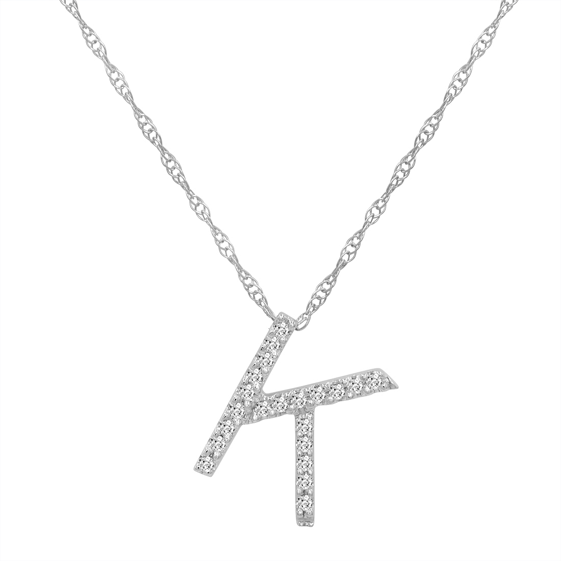 14k white gold diamond k initial necklace in a wood box ebay. Black Bedroom Furniture Sets. Home Design Ideas