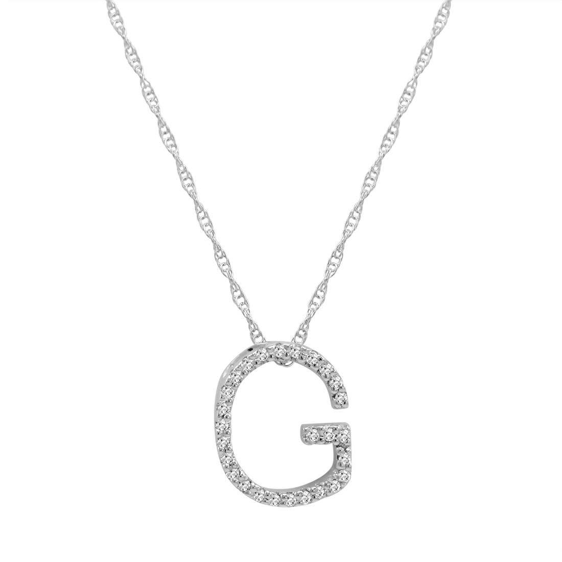 diamond initial g pendant set in 14k white gold ebay. Black Bedroom Furniture Sets. Home Design Ideas