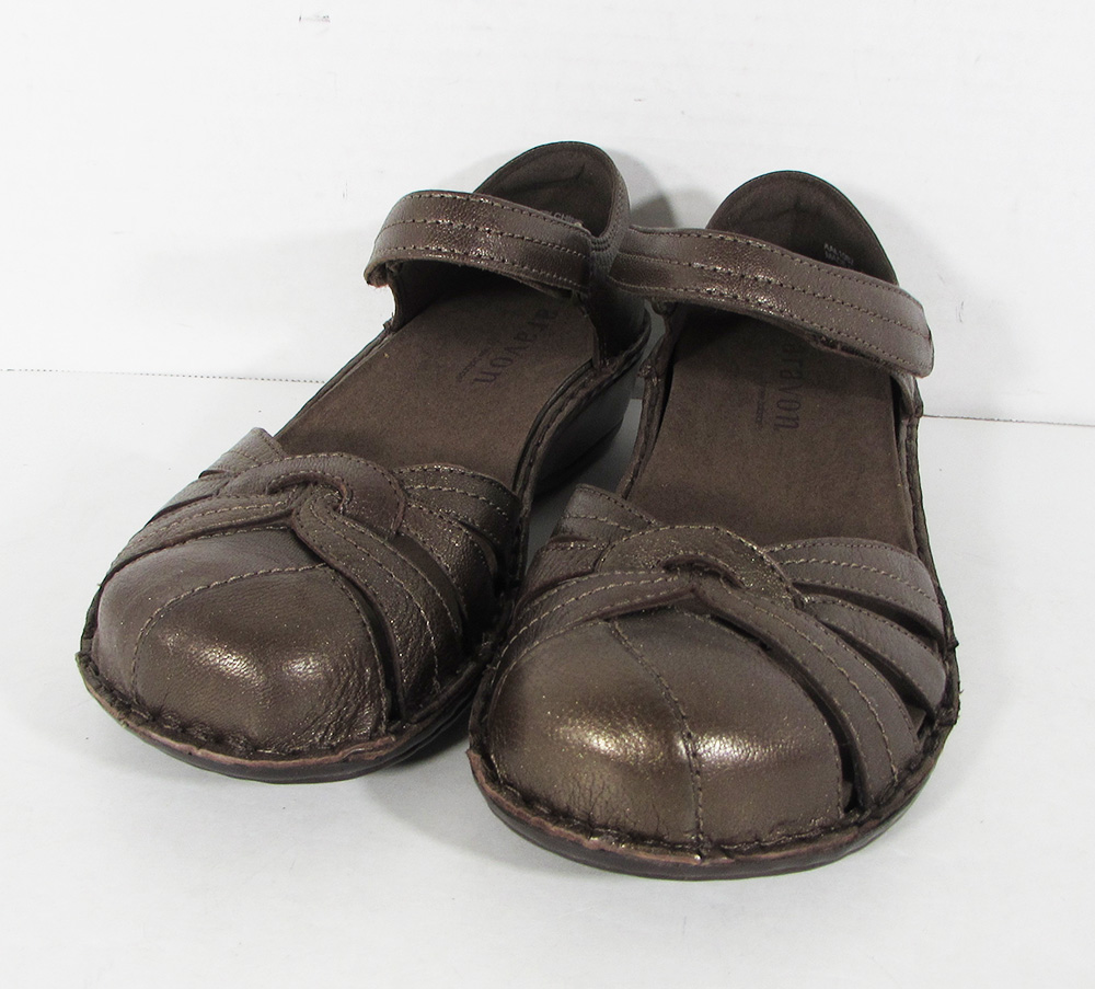 $140 Aravon Womens Clarissa Fisherman Sandal Shoes, Bronze,