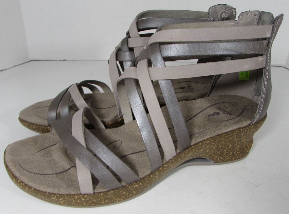 9 Ahnu Womens Trolley Strappy Wedge Sandal Shoes Mesa Taupe US 8