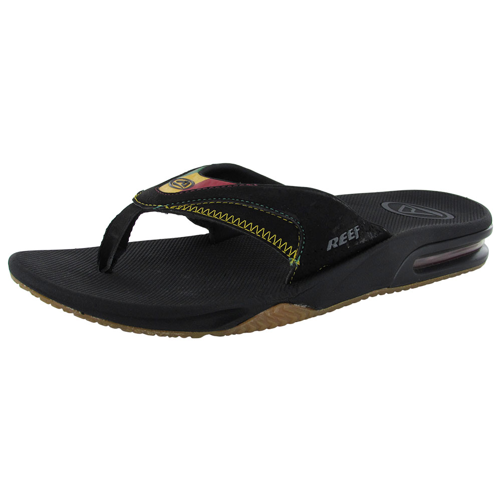 reef mens fanning bottle opener thong flip flop sandals rasta 2 ebay. Black Bedroom Furniture Sets. Home Design Ideas
