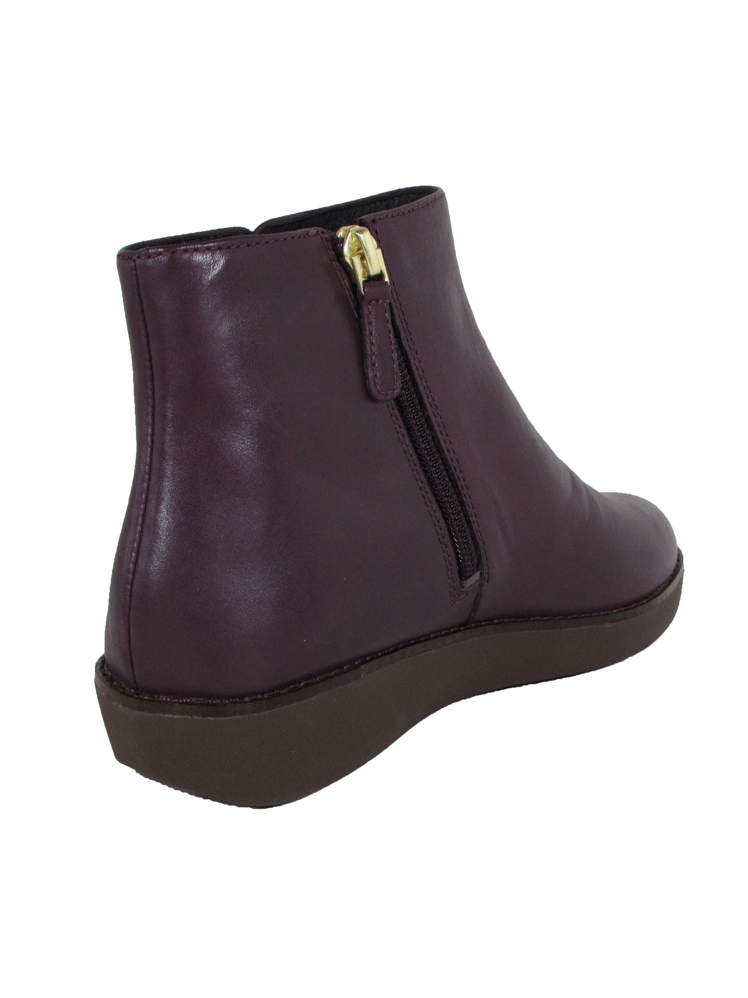 Fitflop-Womens-Ziggy-Zip-Leather-Bootie-Shoes-Deep-Plum-US-6-5 thumbnail 3