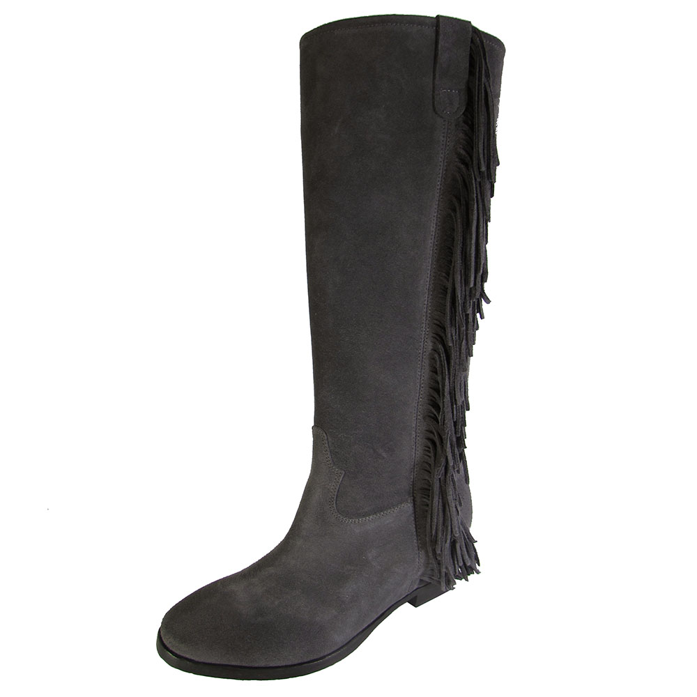 Kenneth Cole Damenschuhe Desiree Leder Boot Pull On Tall Fringe Boot Leder Schuhe 3bc33e