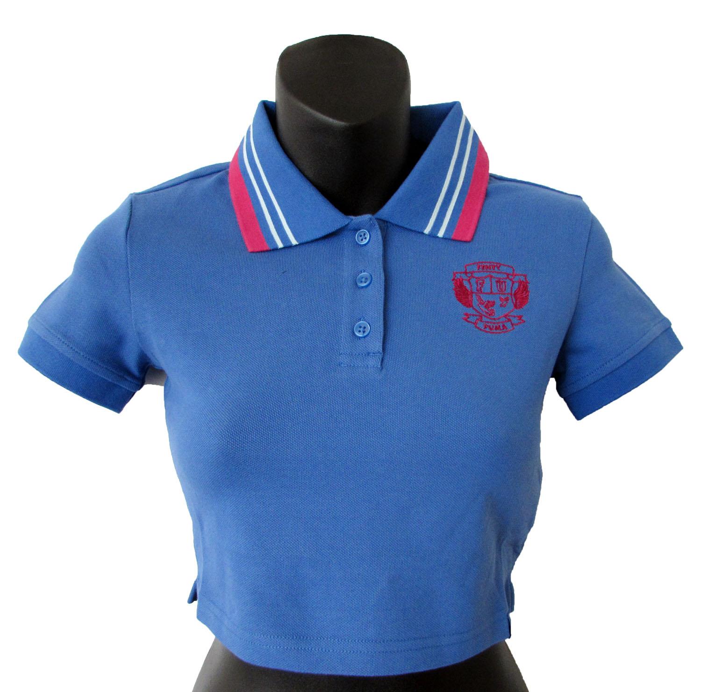 brand new ef7a4 04d53 Fenty PUMA by Rihanna Womens Cropped Polo Shirt Bright Cobalt XXS