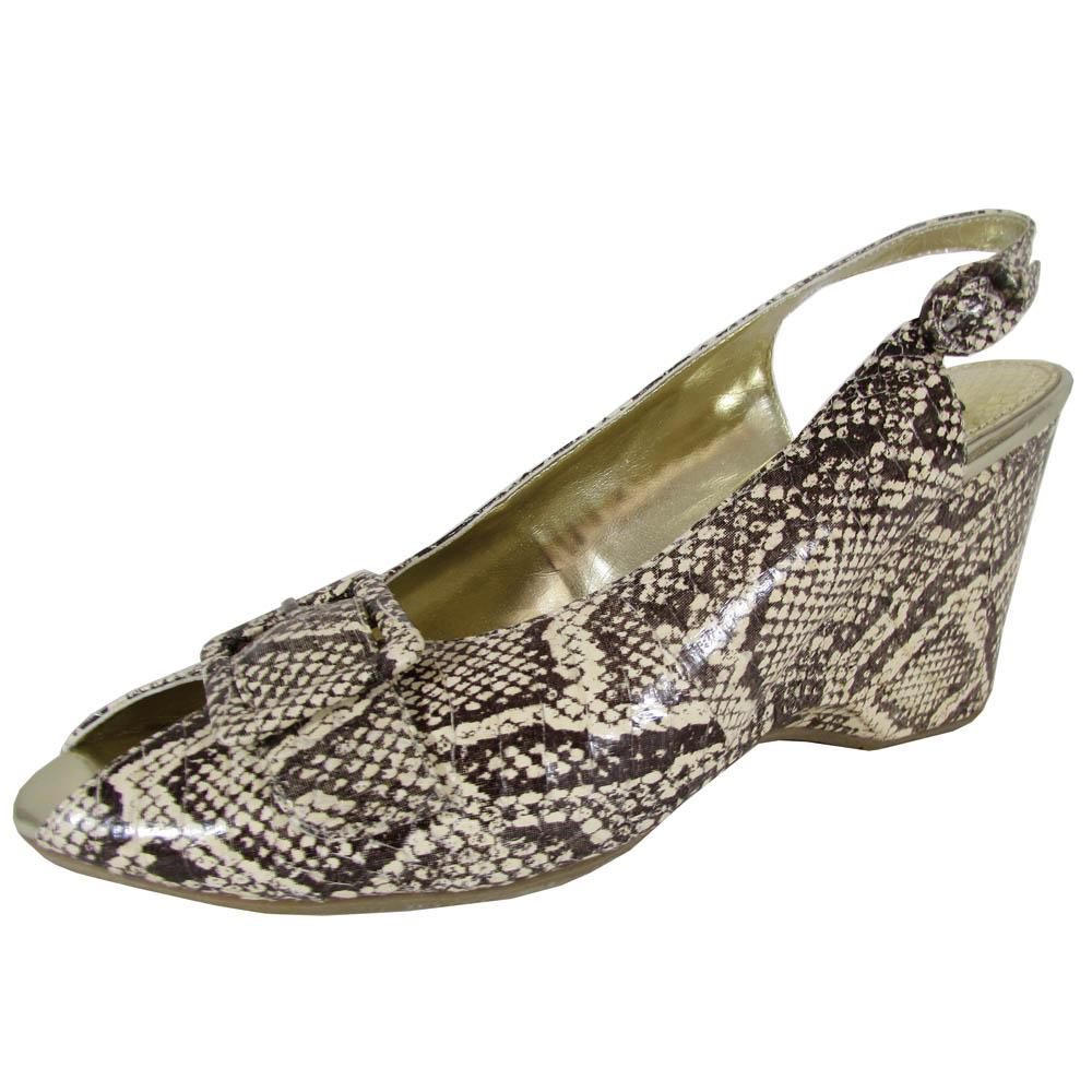 Sam Edelman Womens Ivy Slingback Peep Toe Wedge shoes, Beige Snake, US 6.5