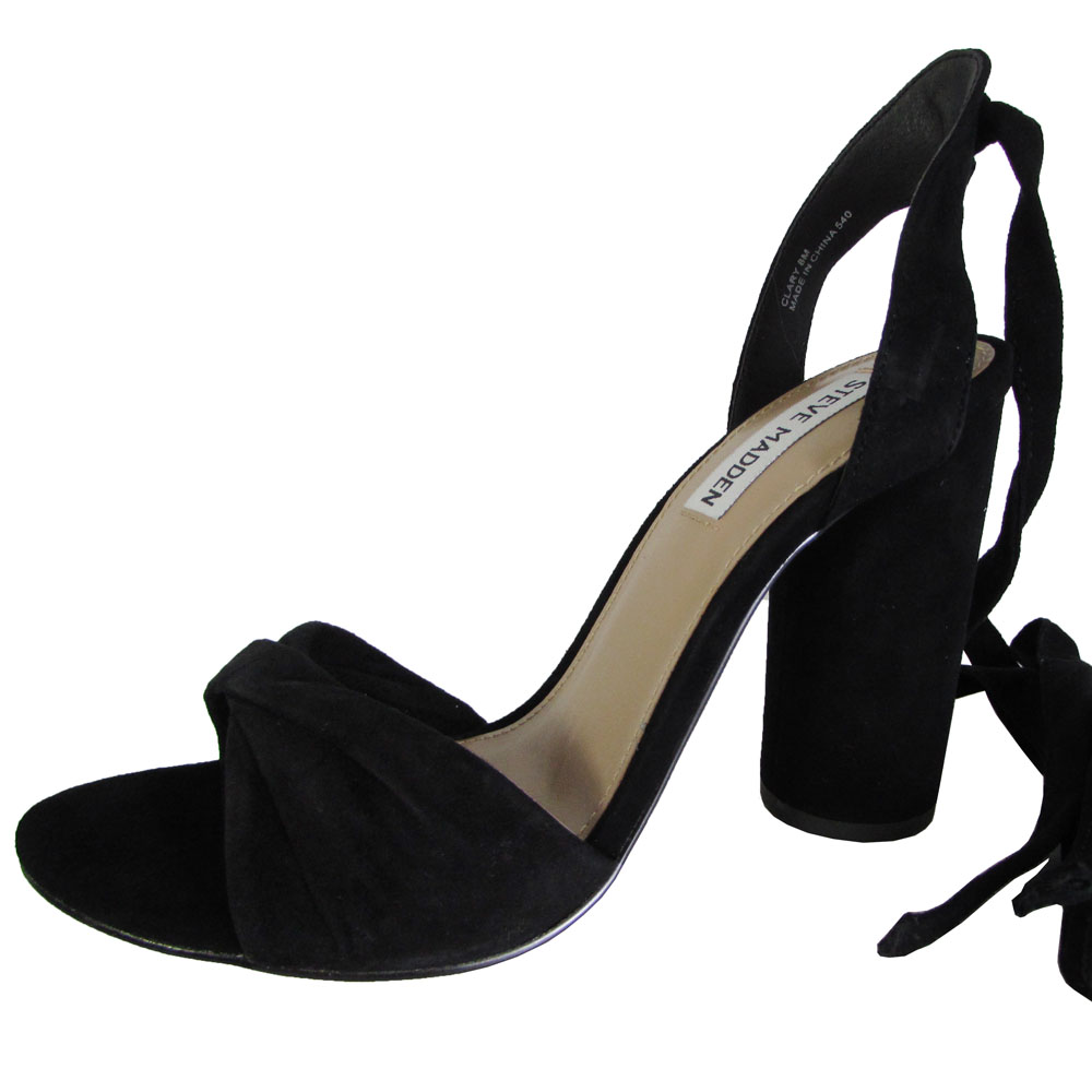 1760250243b Steve Madden Womens Clary High Heel Tie up Sandal Shoes Black Suede ...