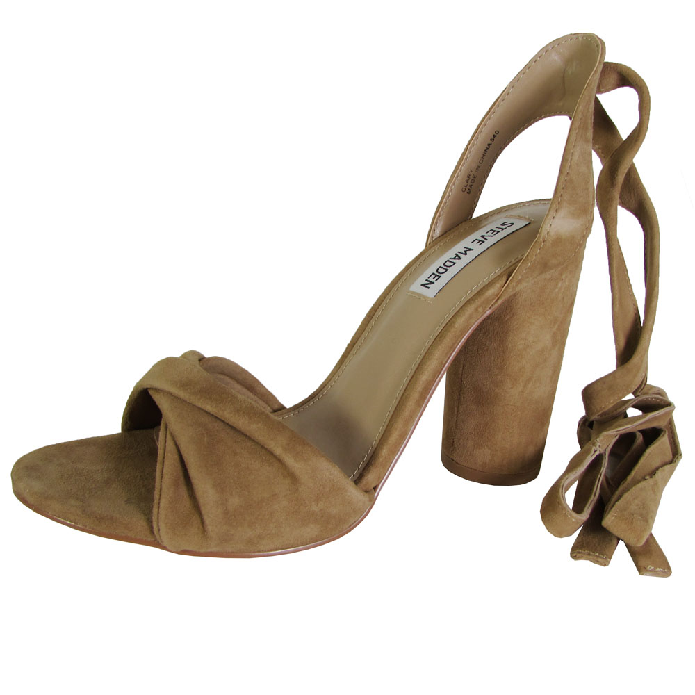 0137c421bb1 Steve Madden Womens Clary High Heel Tie up Sandal Shoes Camel Suede ...