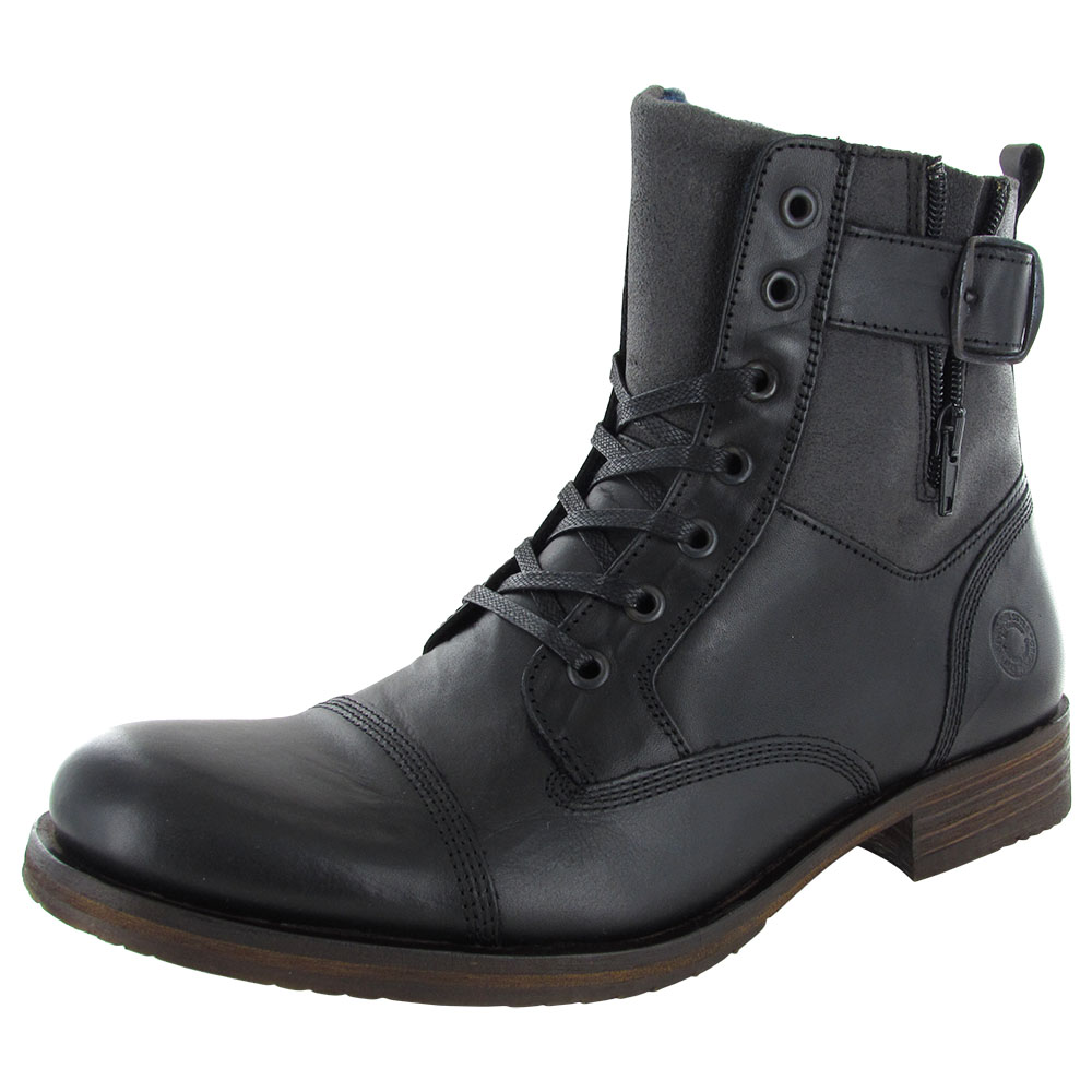 Steve Madden Mens Saxonn Cap Toe Combat Boot Shoes, Black Leather ...