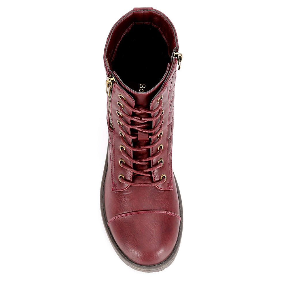 Sophie17 Womens Gloria Quilted Lace Up Boot Shoes