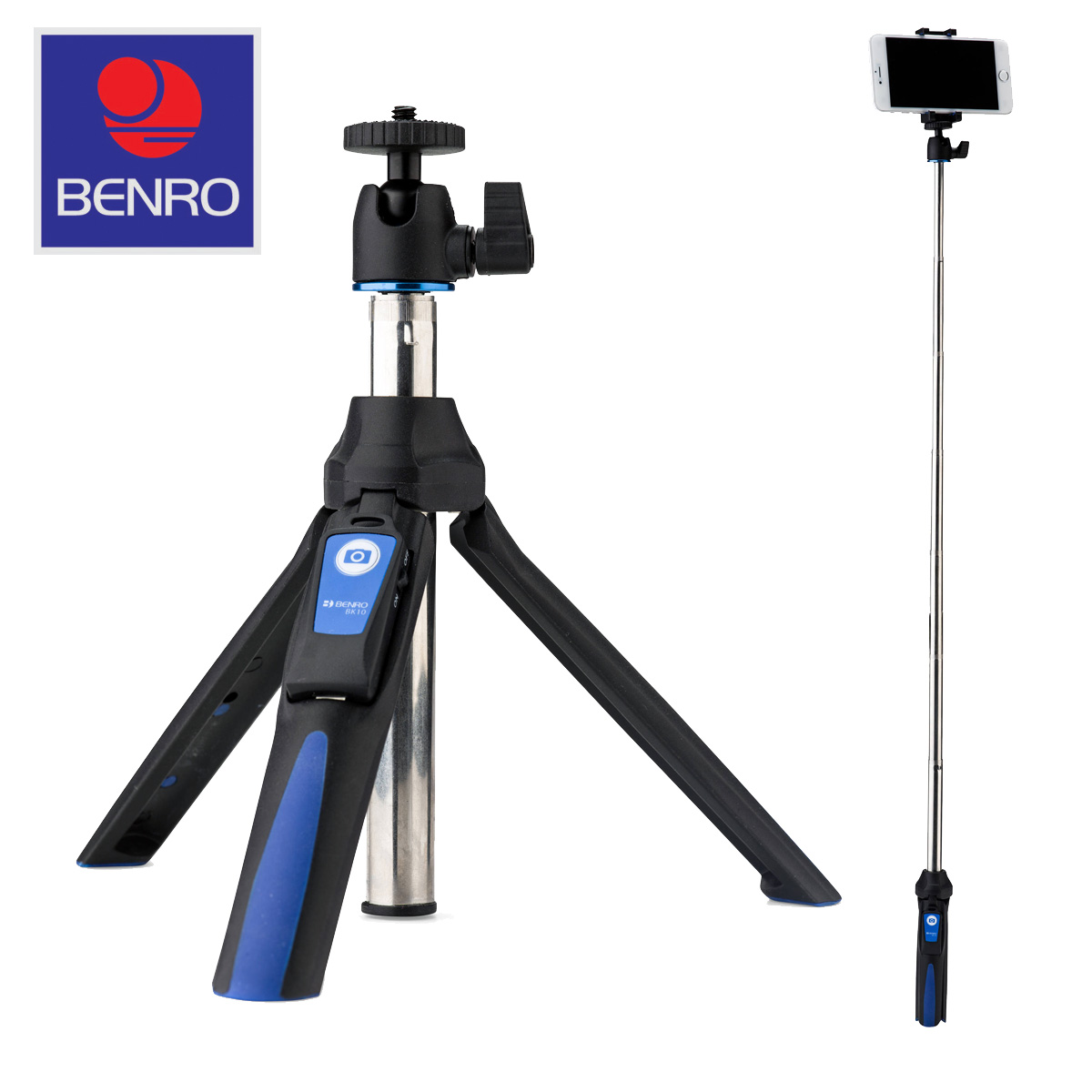 benro mini tripod selfie stick with ball head adapters for gopro and smartphones ebay. Black Bedroom Furniture Sets. Home Design Ideas