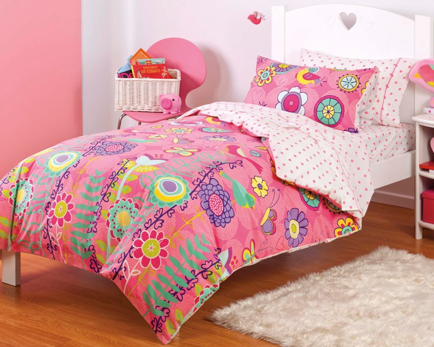 Girls Twin Comforter: NEW Girls Pink Butterfly Bird Floral TWIN Or FULL Bedding