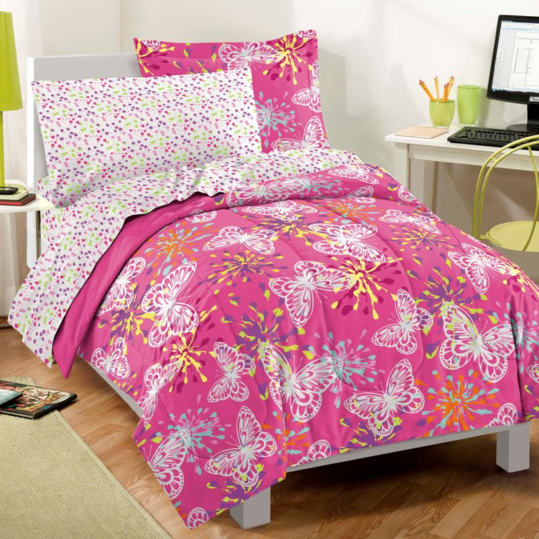 new butterfly party pink girls bedding comforter sheet set twin. Black Bedroom Furniture Sets. Home Design Ideas