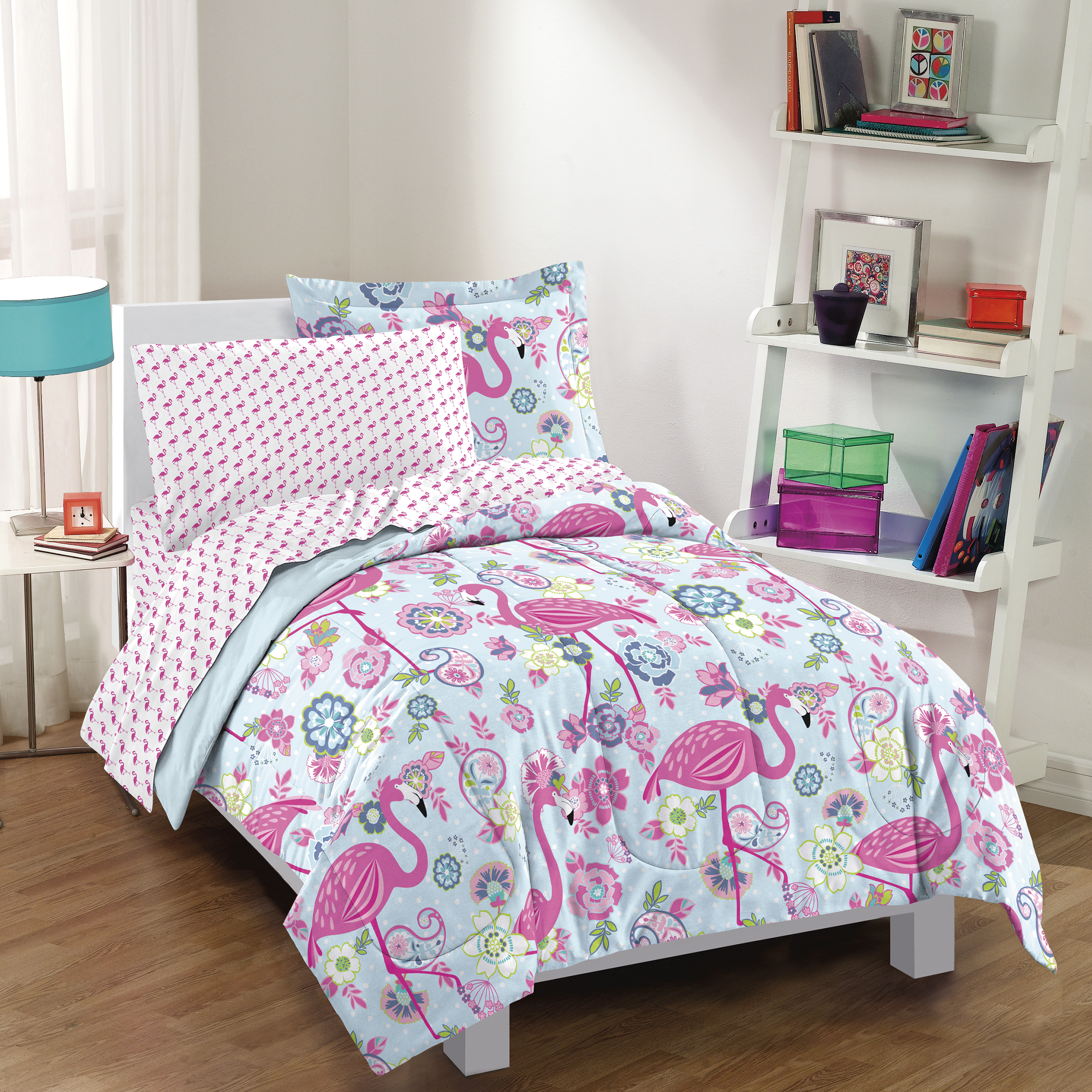 Details About NEW Flamingo Pink Girls Full Bedding Set Kids Teen Comforter  Sheets