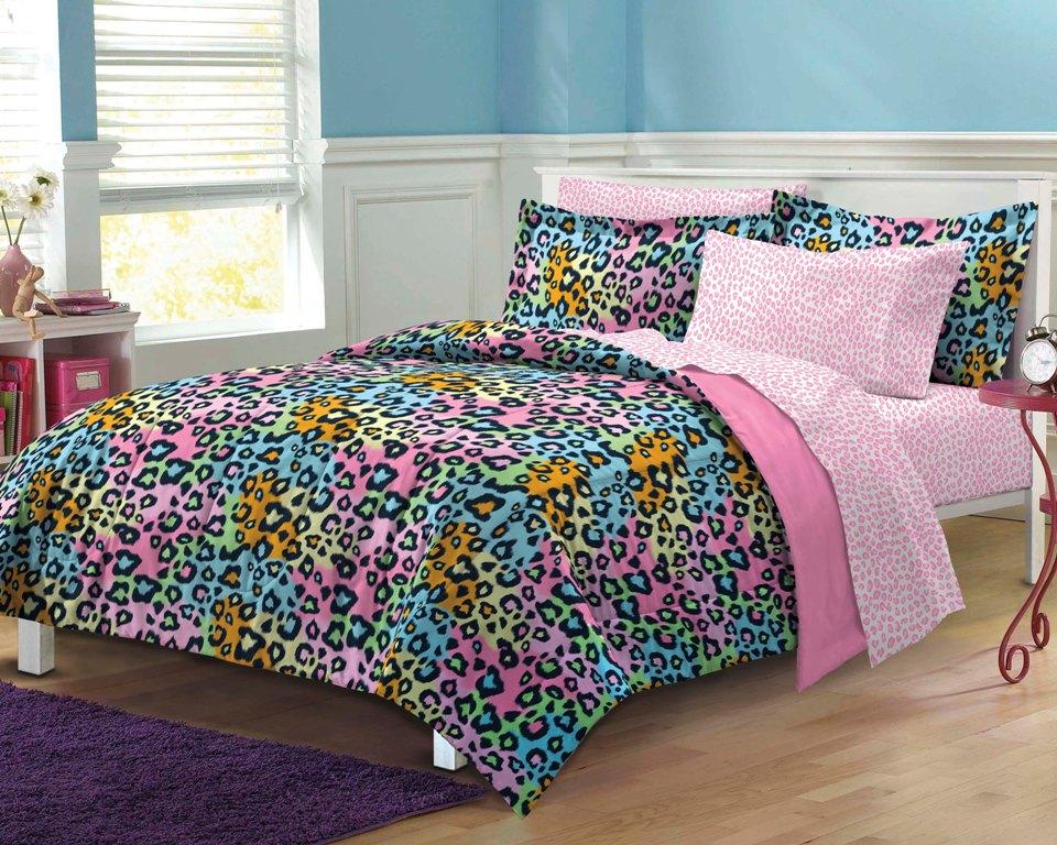 NEW Neon Leopard Teen Girls Bedding Comforter Sheet Set