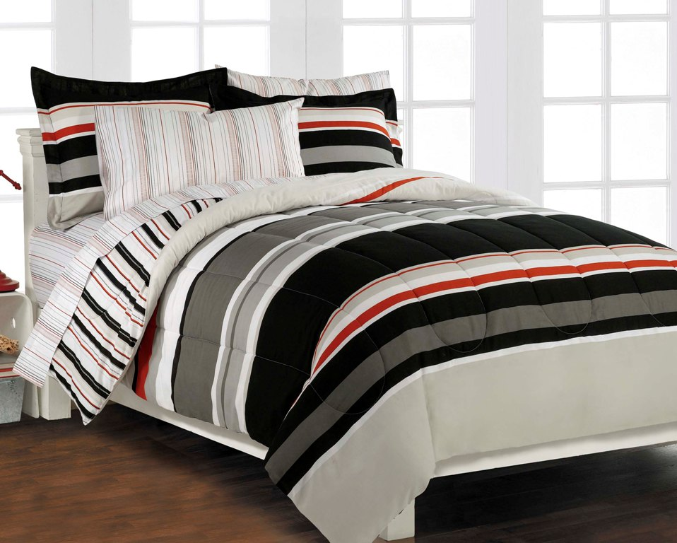 nautical stripe gray 5p boys teen bedding set twin ebay. Black Bedroom Furniture Sets. Home Design Ideas