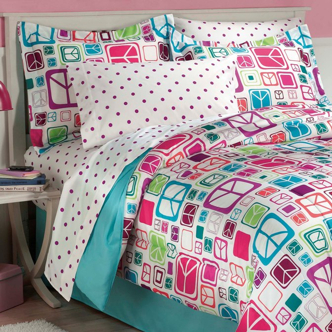 NEW Teen Girls Peace Signs Teal TWIN / FULL Bedding
