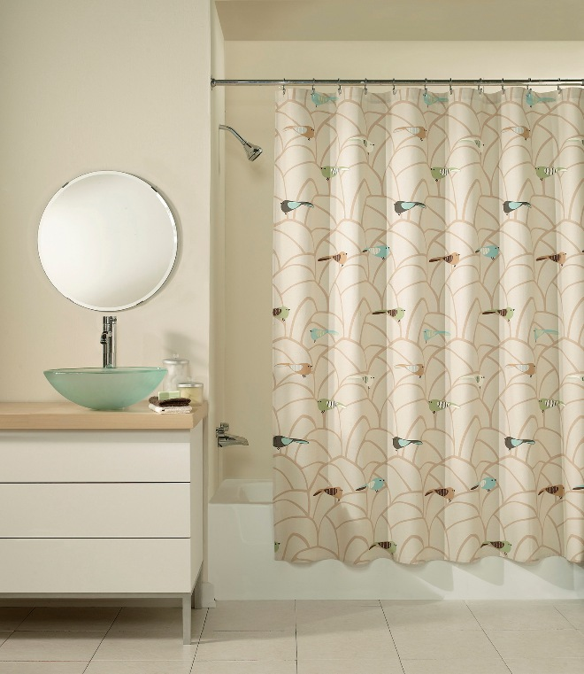 Art Deco Sparrow Multi-colored Fabric Shower Curtain