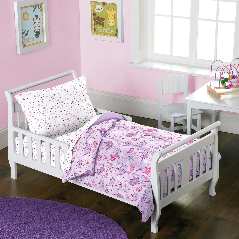 best service d2586 30d9f Details about NEW Princess Stars & Crown Purple Girls 4-Piece Toddler  Bedding Set
