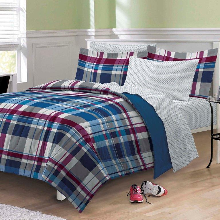 new varsity plaid teen boys bedding comforter sheet set twin twin xl ebay. Black Bedroom Furniture Sets. Home Design Ideas