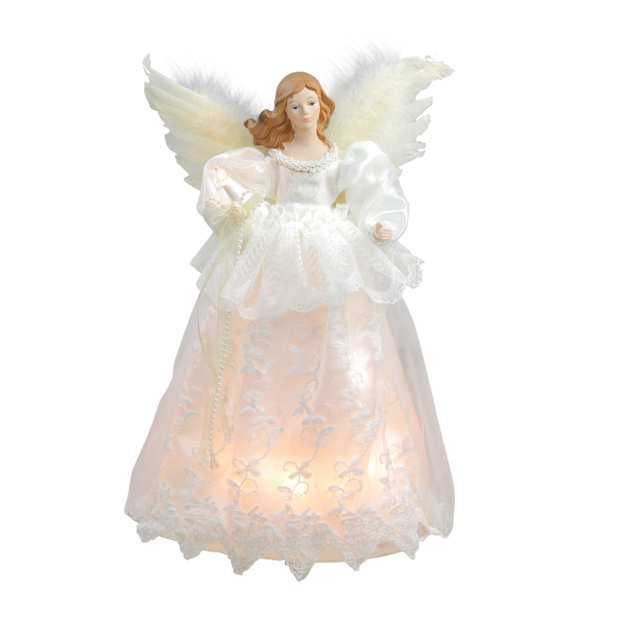 "Christmas Tree Angel Tree Topper: 14"" Lighted Elegant Ivory Angel Christmas Tree Topper"