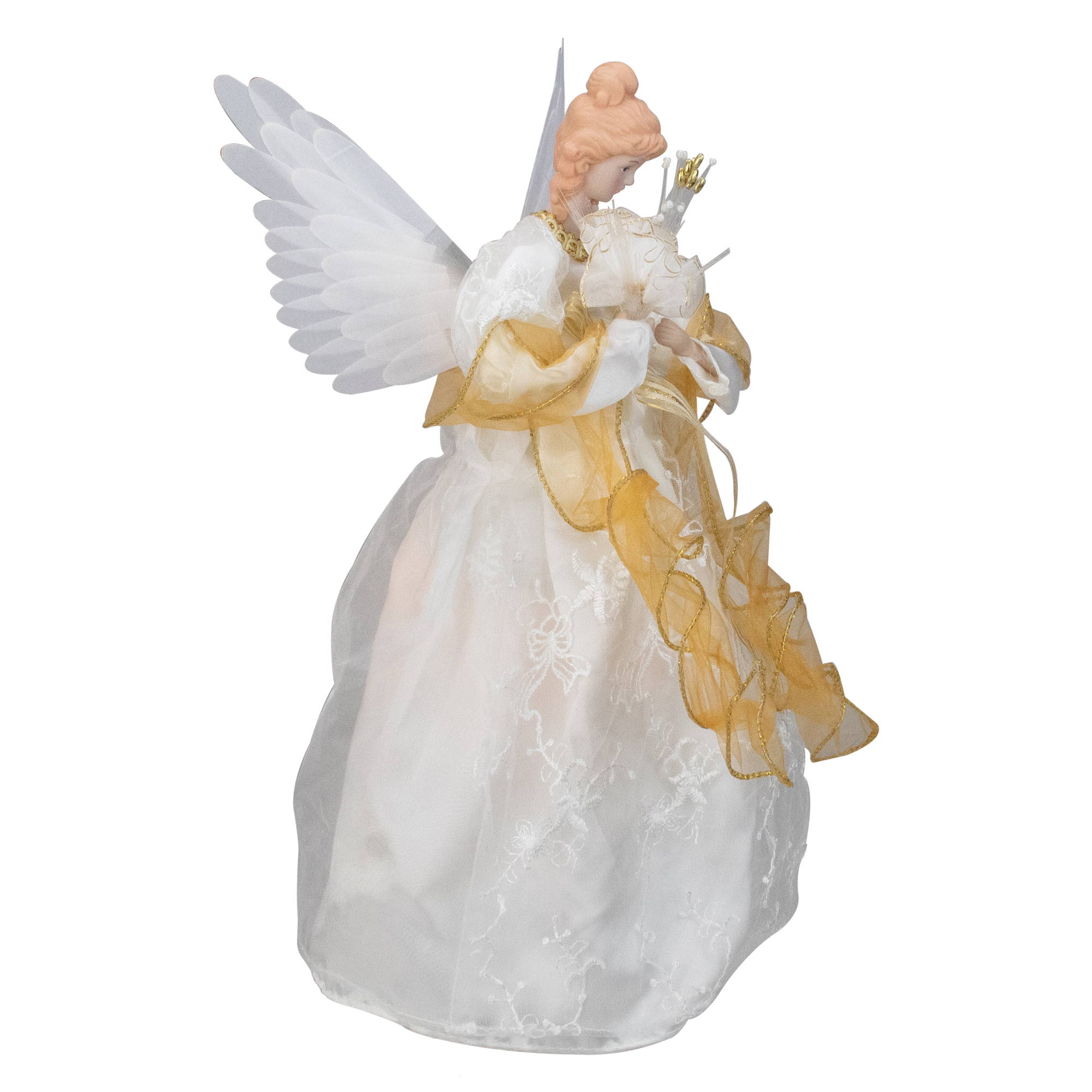 Gold Dress Angel Lighted Christmas Tree Topper Decoration # A733