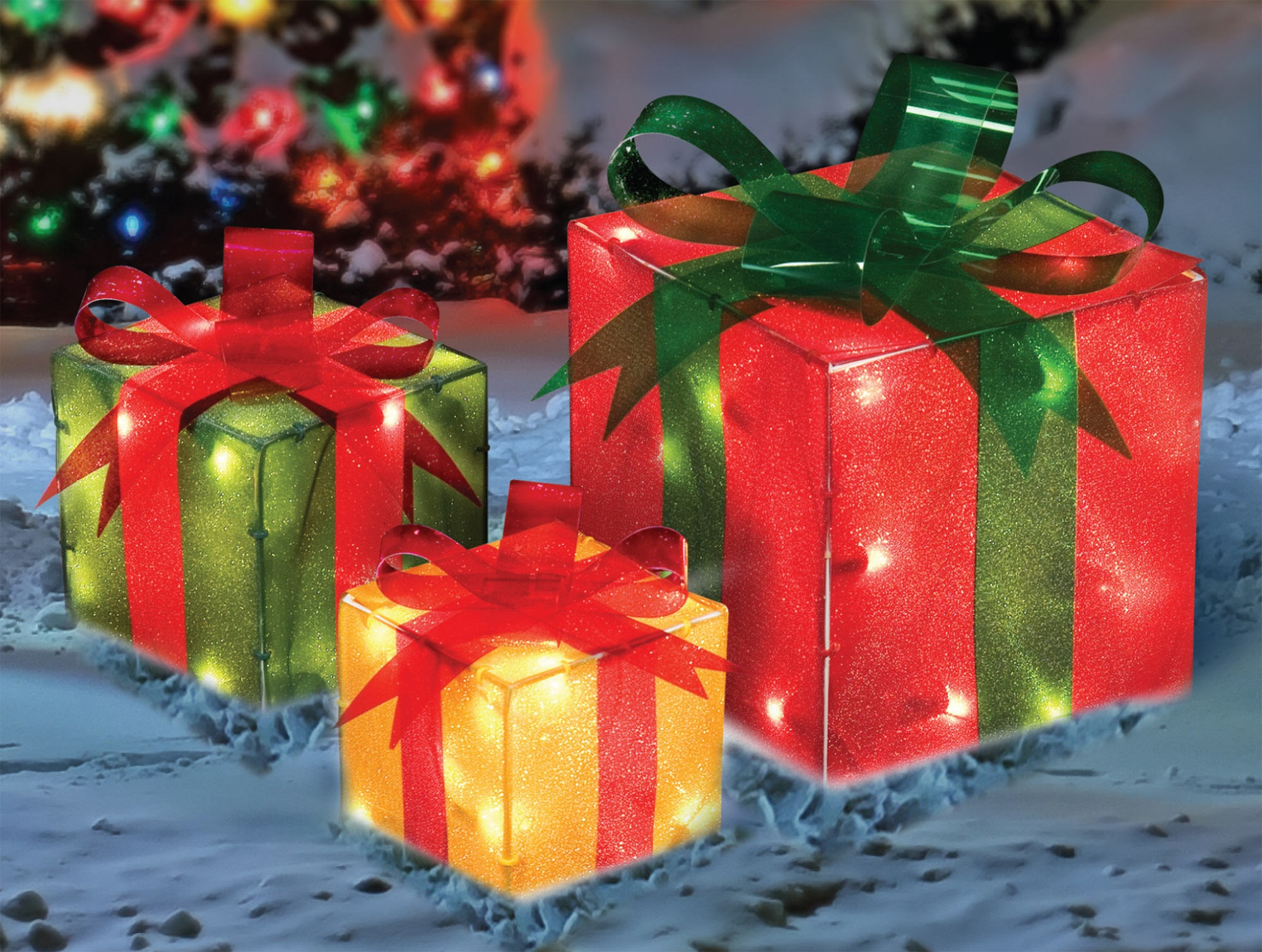 set of 3 red green and yellow glistening lighted gift box christmas outdoor decorations 9 - Lighted Christmas Gift Box Decorations