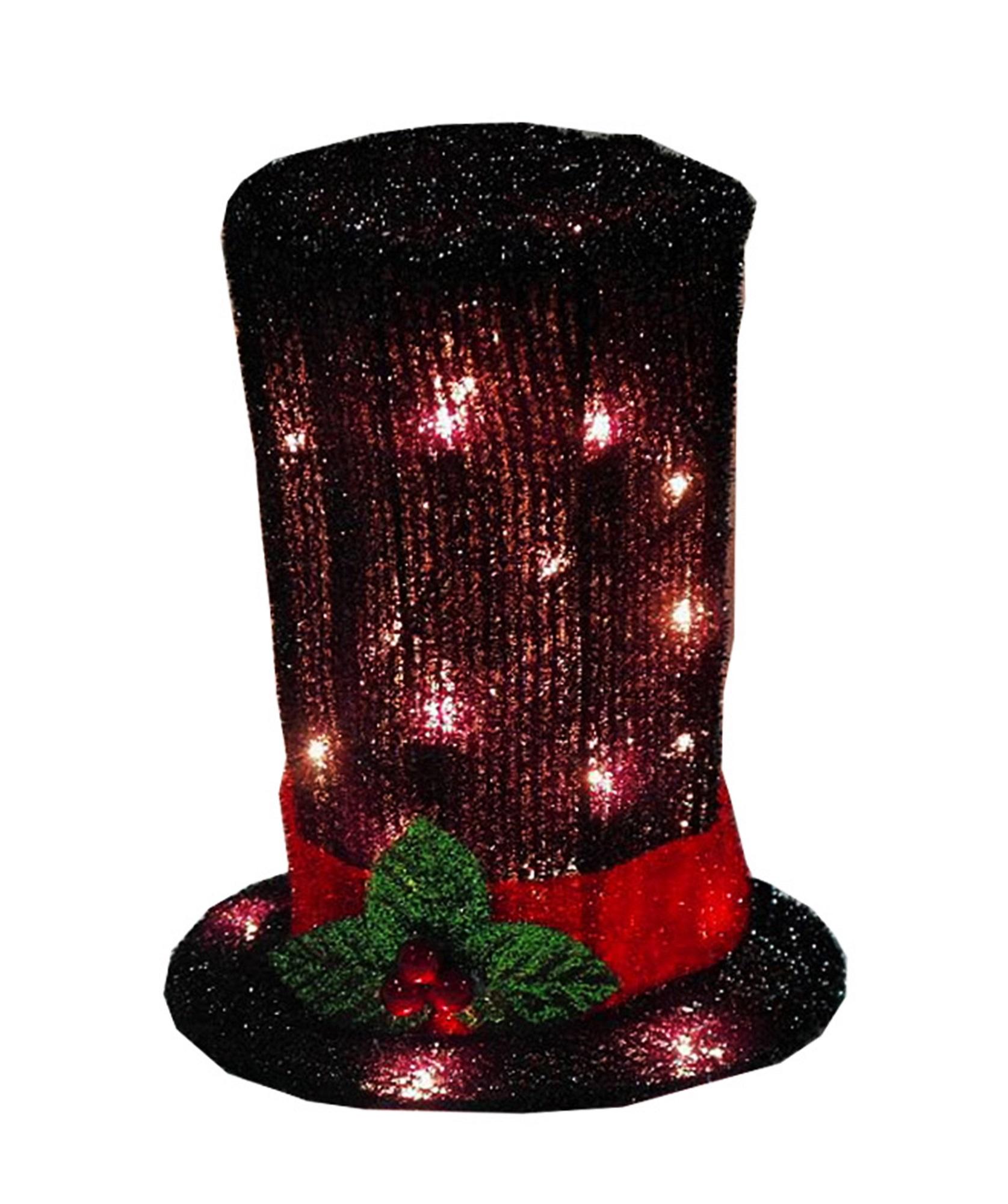 "9"" Lighted Black Tinsel Snowman Top Hat Christmas Tree ..."